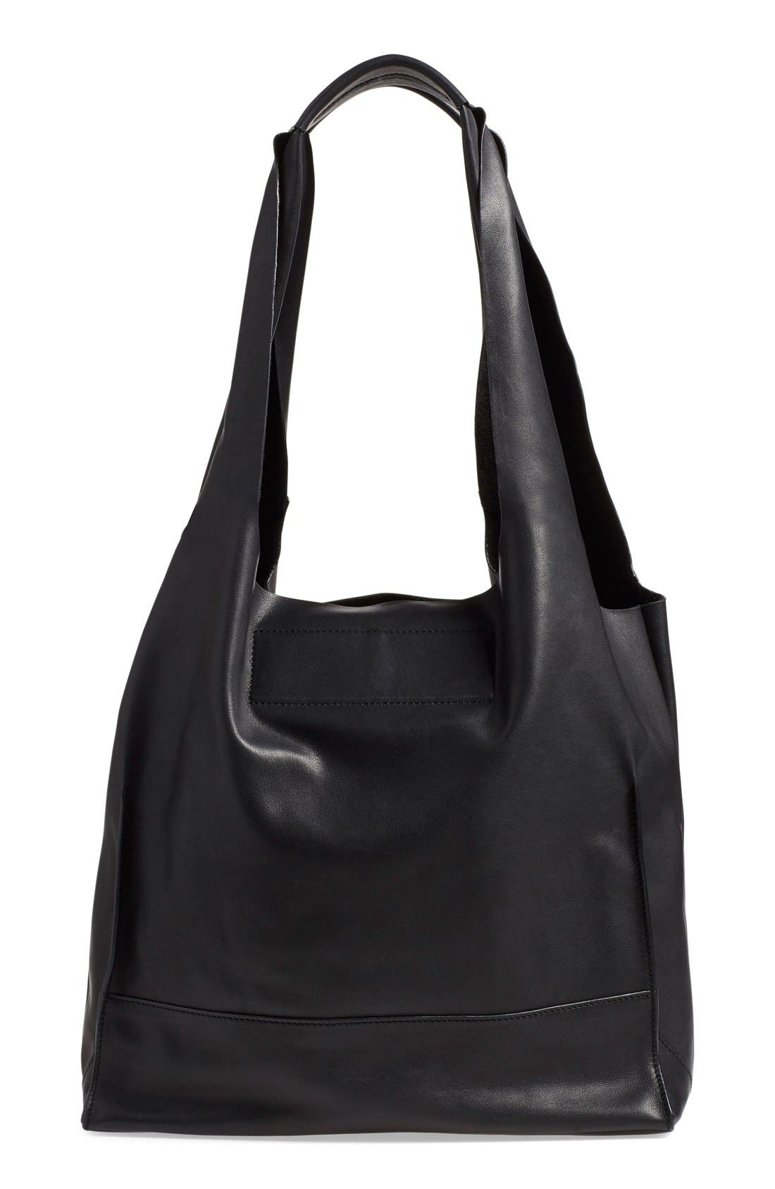 Walker Leather Tote,                             Alternate thumbnail 4, color,                             001