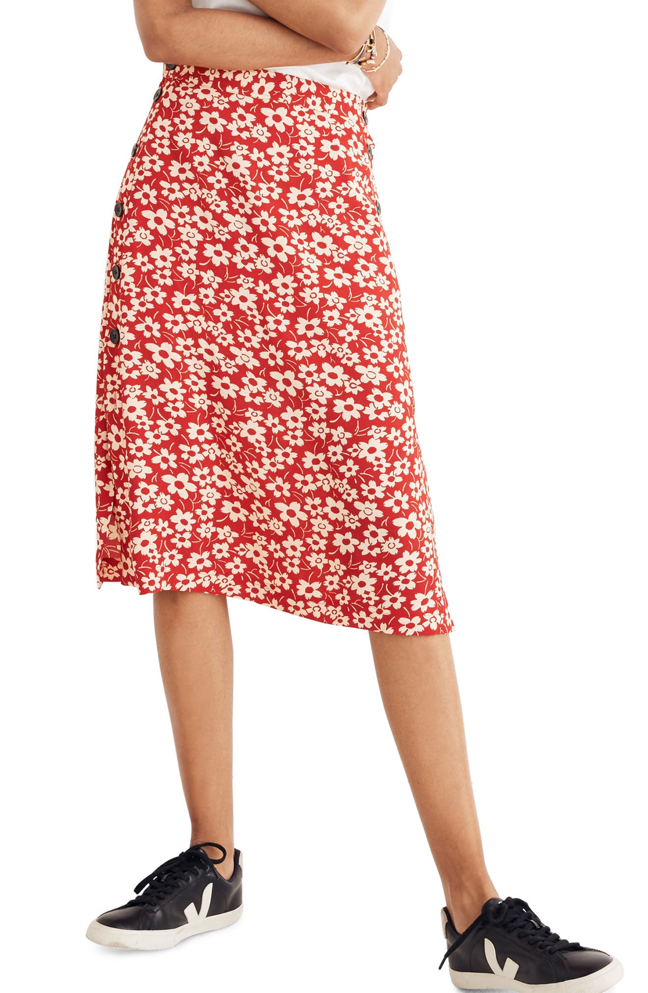 Side Button Skirt,                         Main,                         color, CRANBERRY