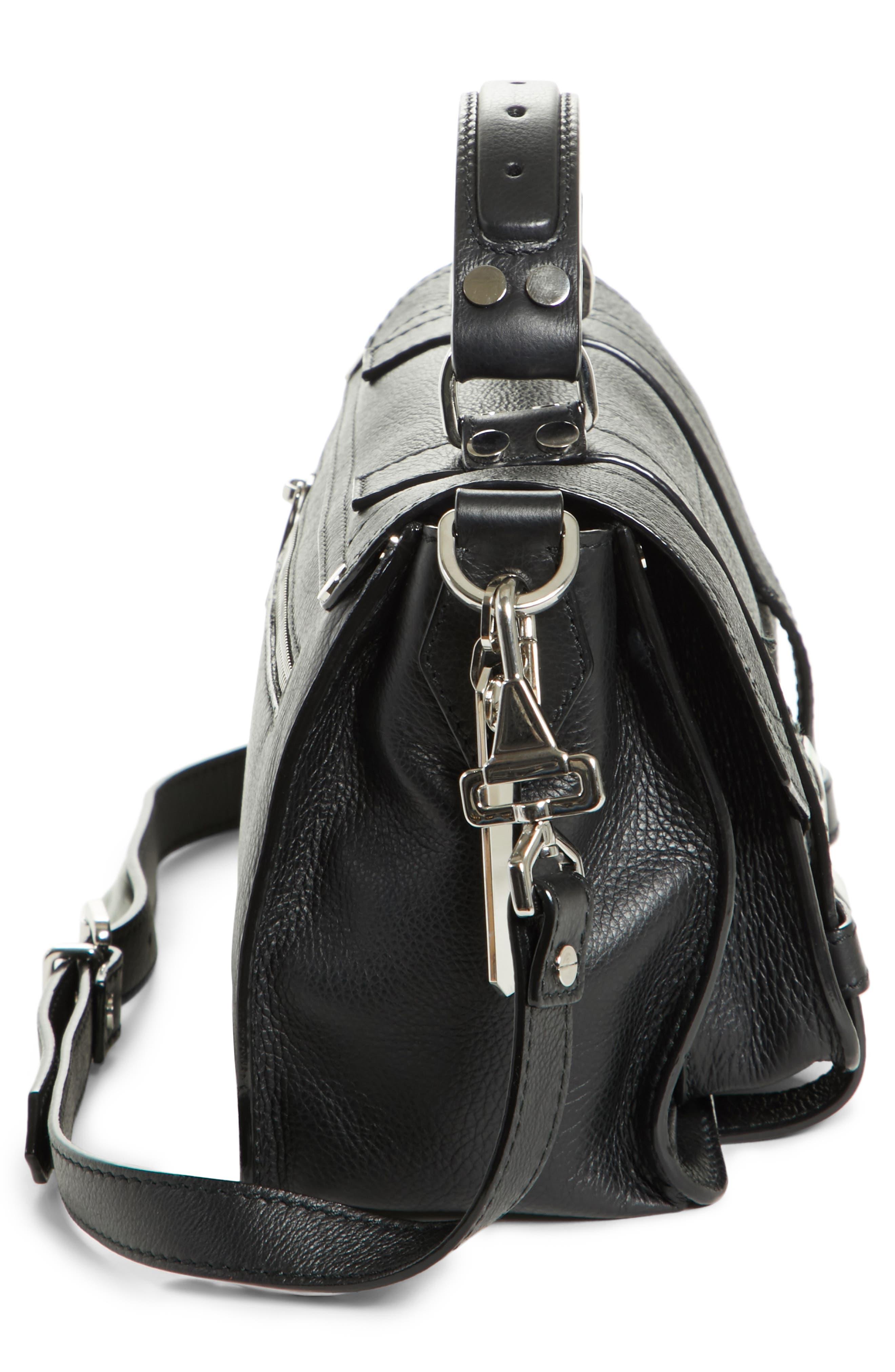 Tiny PS1 Grainy Leather Satchel,                             Alternate thumbnail 4, color,                             BLACK