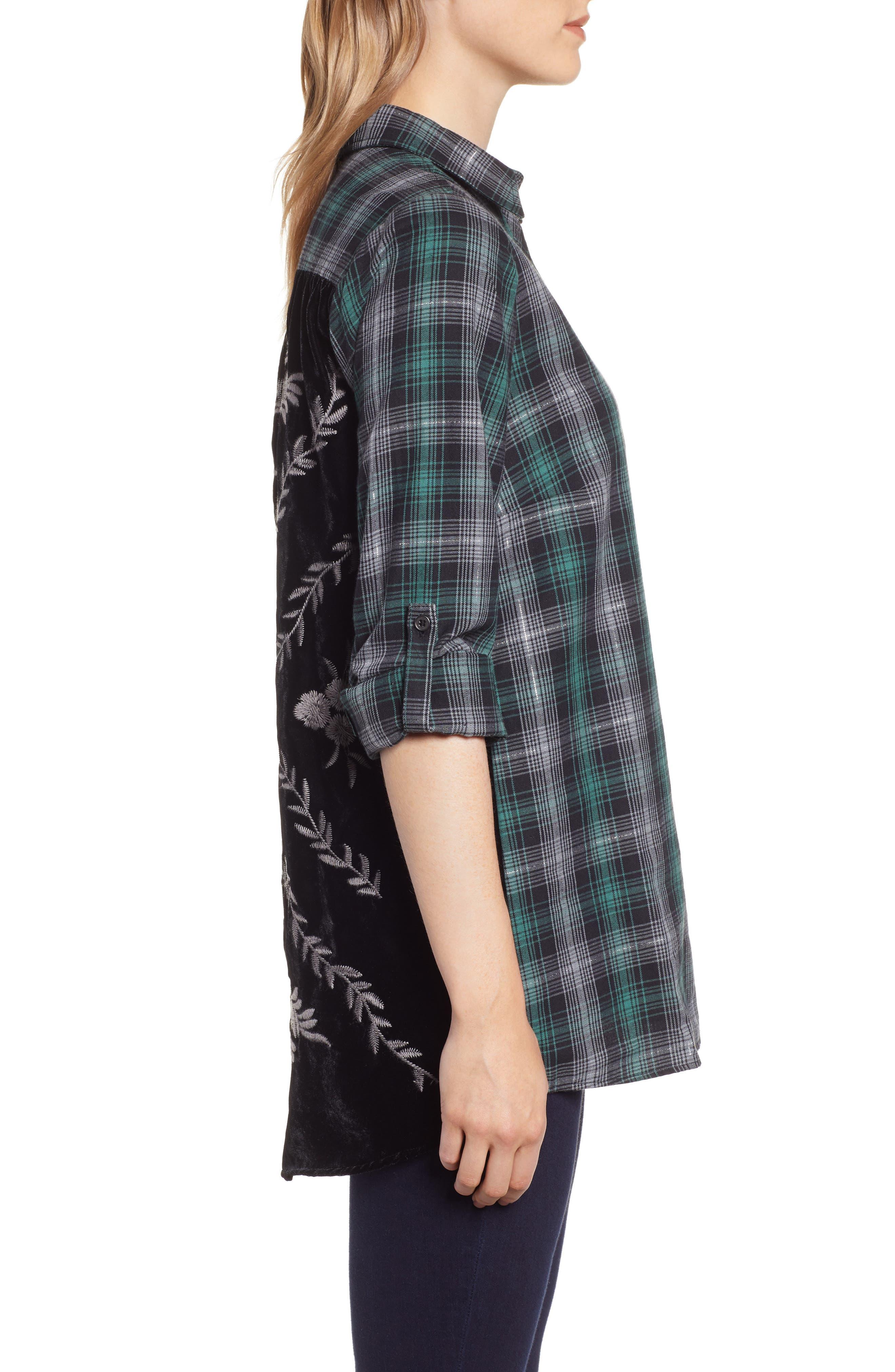 Plaid & Embroidered Velvet Shirt,                             Alternate thumbnail 3, color,                             GREEN/ GREY