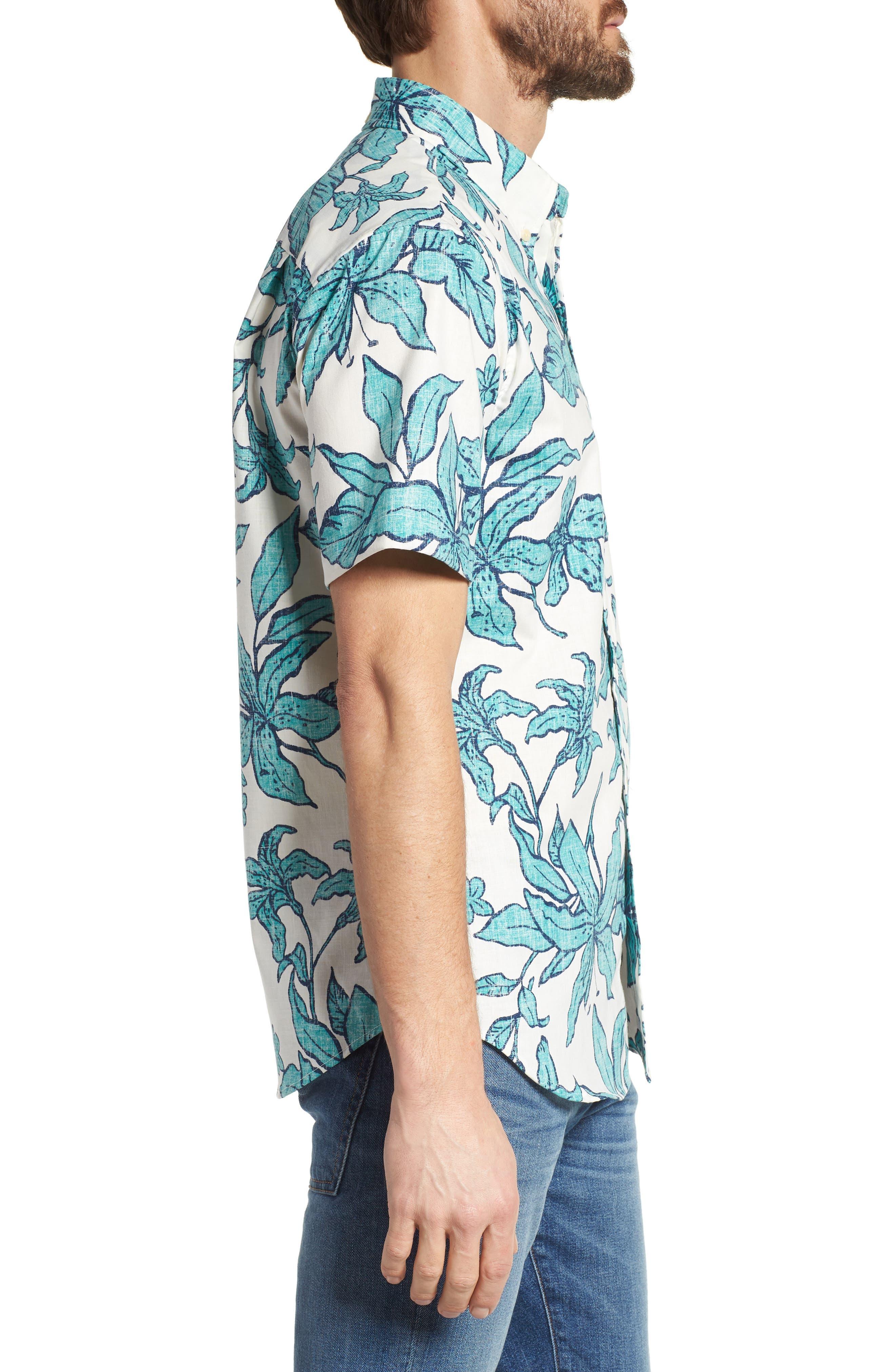 Luhiehu Tailored Fit Print Camp Shirt,                             Alternate thumbnail 3, color,                             104