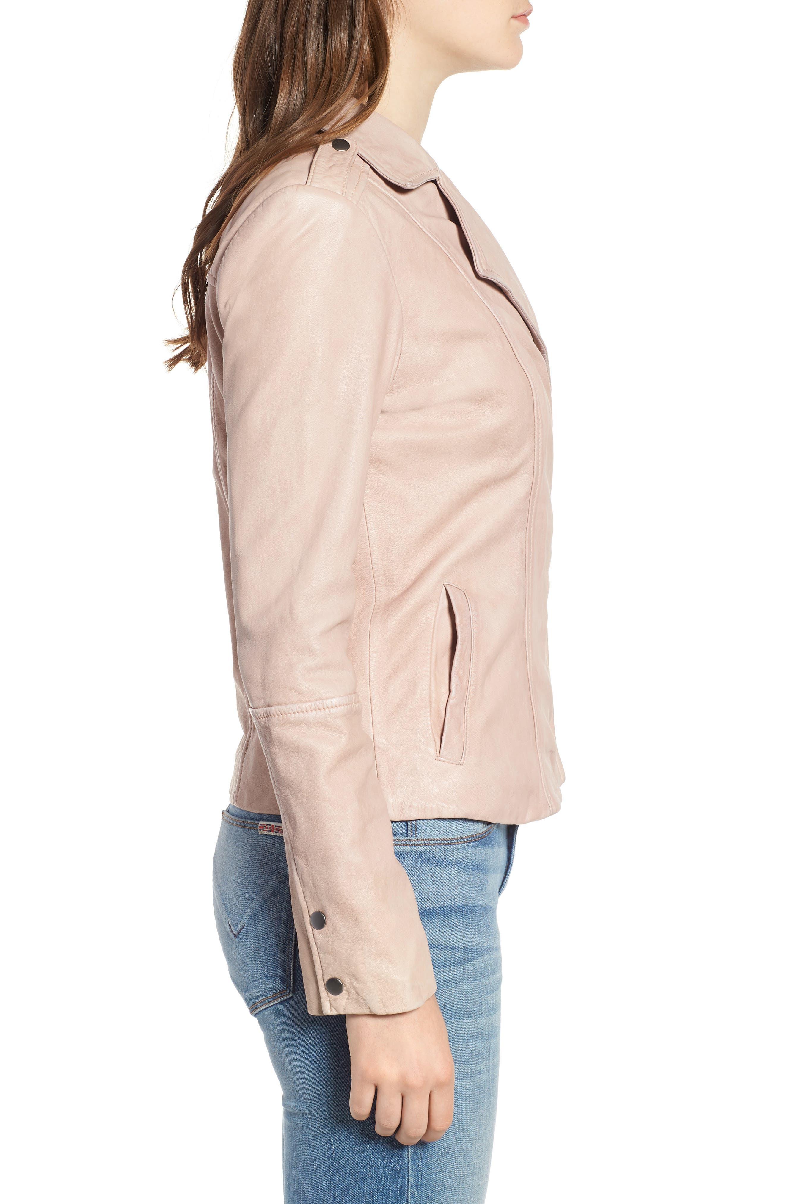 Feminine Leather Moto Jacket,                             Alternate thumbnail 3, color,                             270