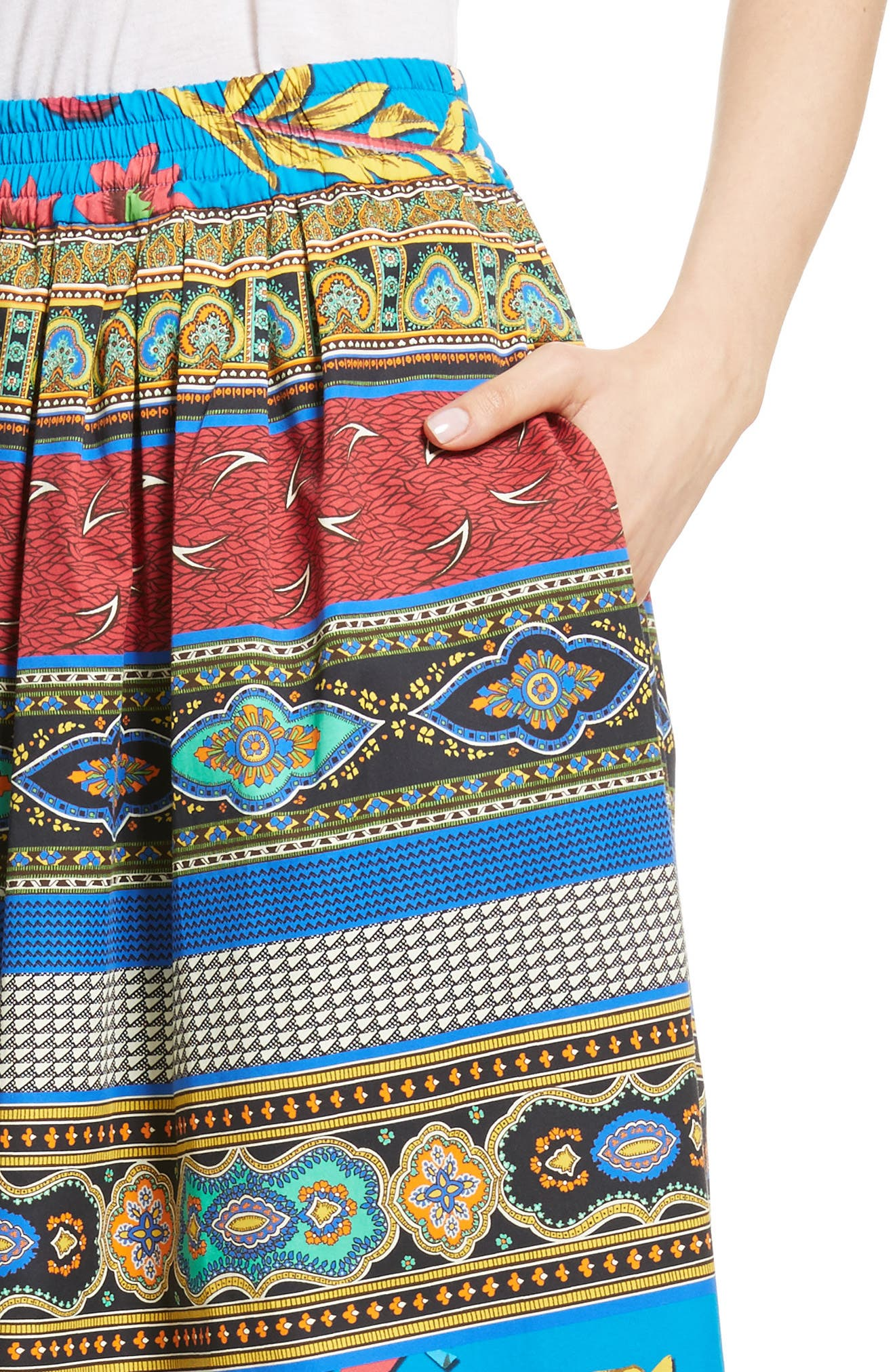 Floral Geo Print Cotton Skirt,                             Alternate thumbnail 4, color,                             410