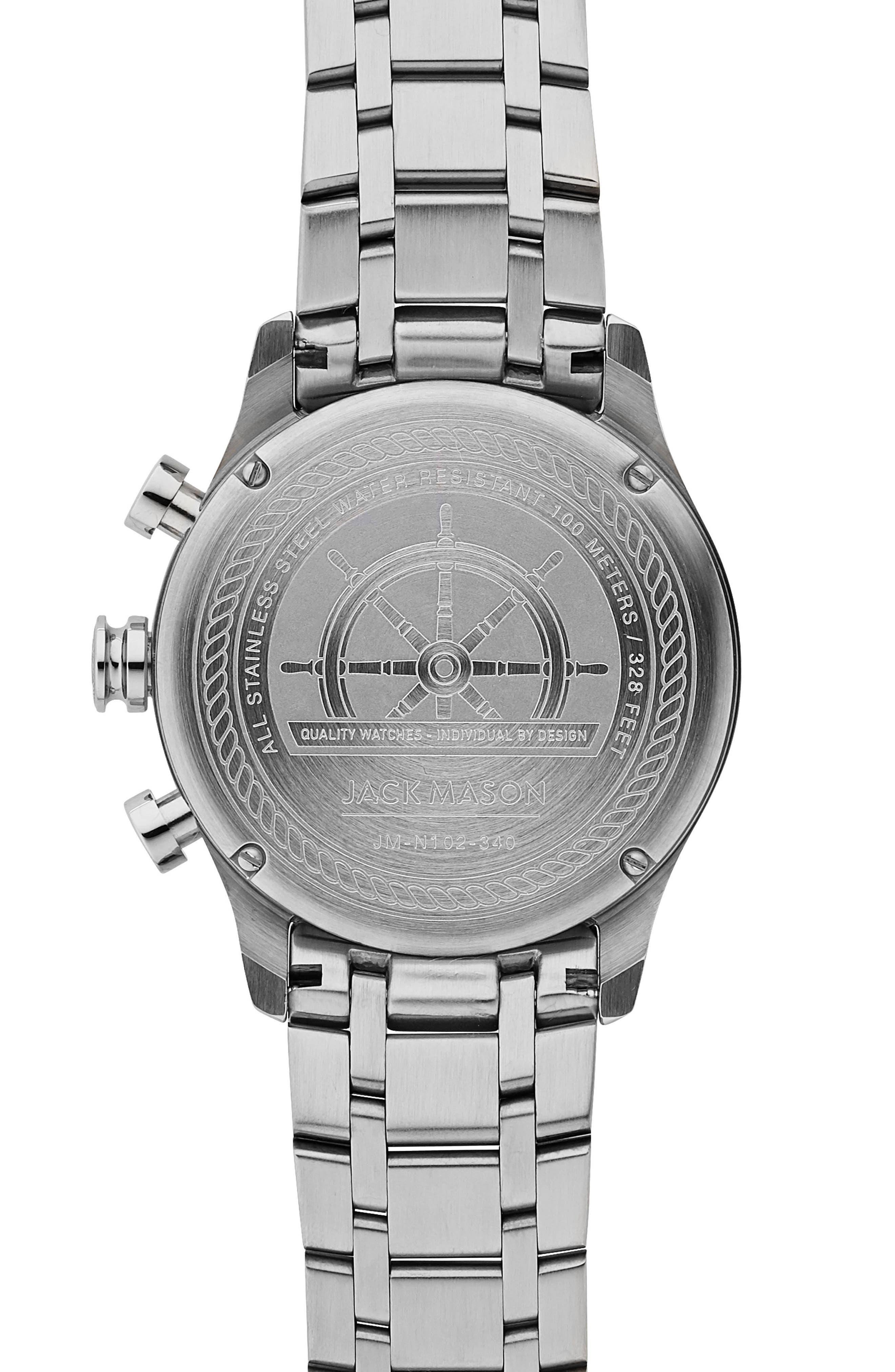 Nautical Chronograph Bracelet Watch, 42mm,                             Alternate thumbnail 2, color,                             BLACK/ SILVER