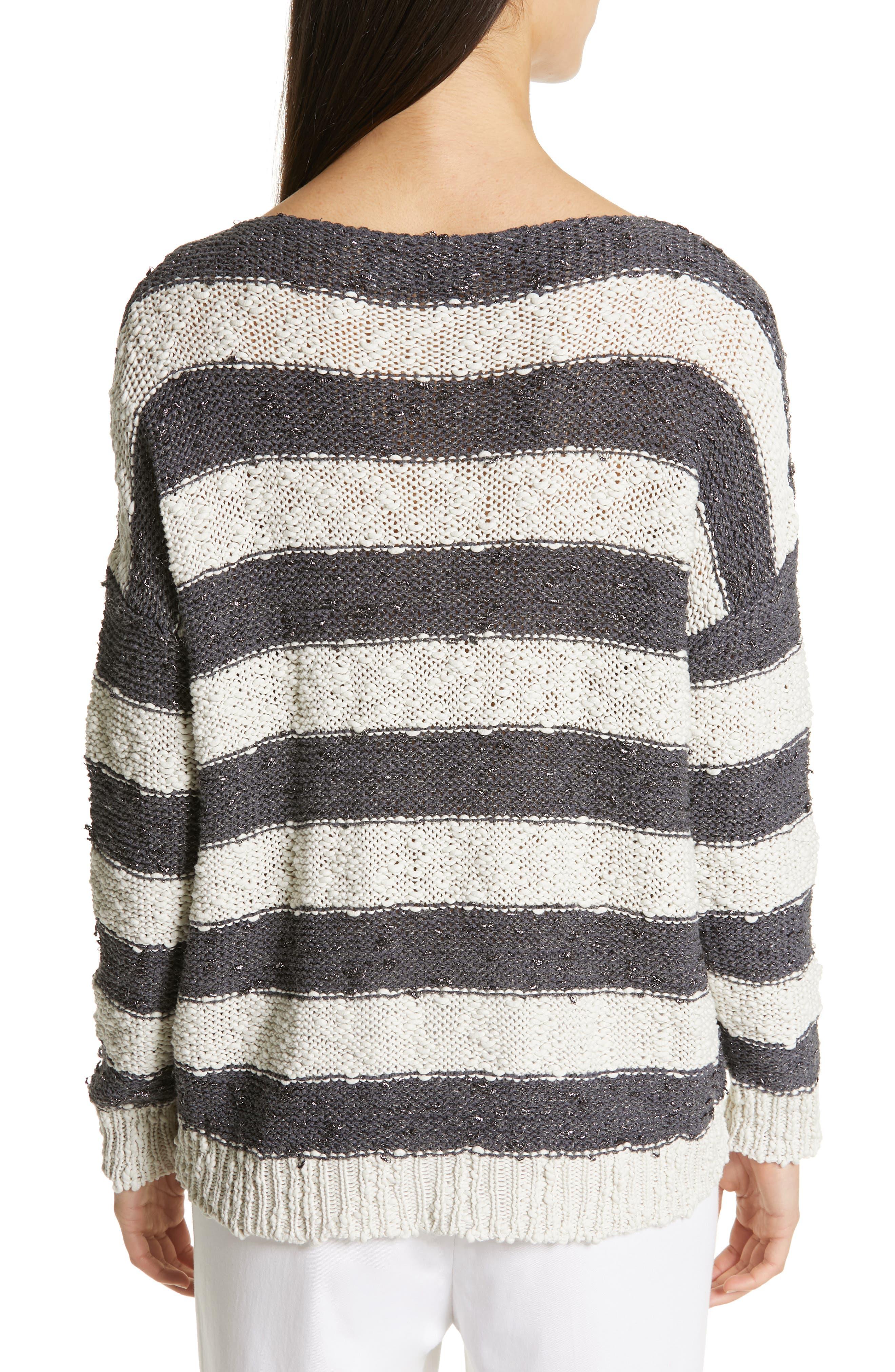 Stripe Knit Sweater,                             Alternate thumbnail 2, color,                             SLATE/ WHITE
