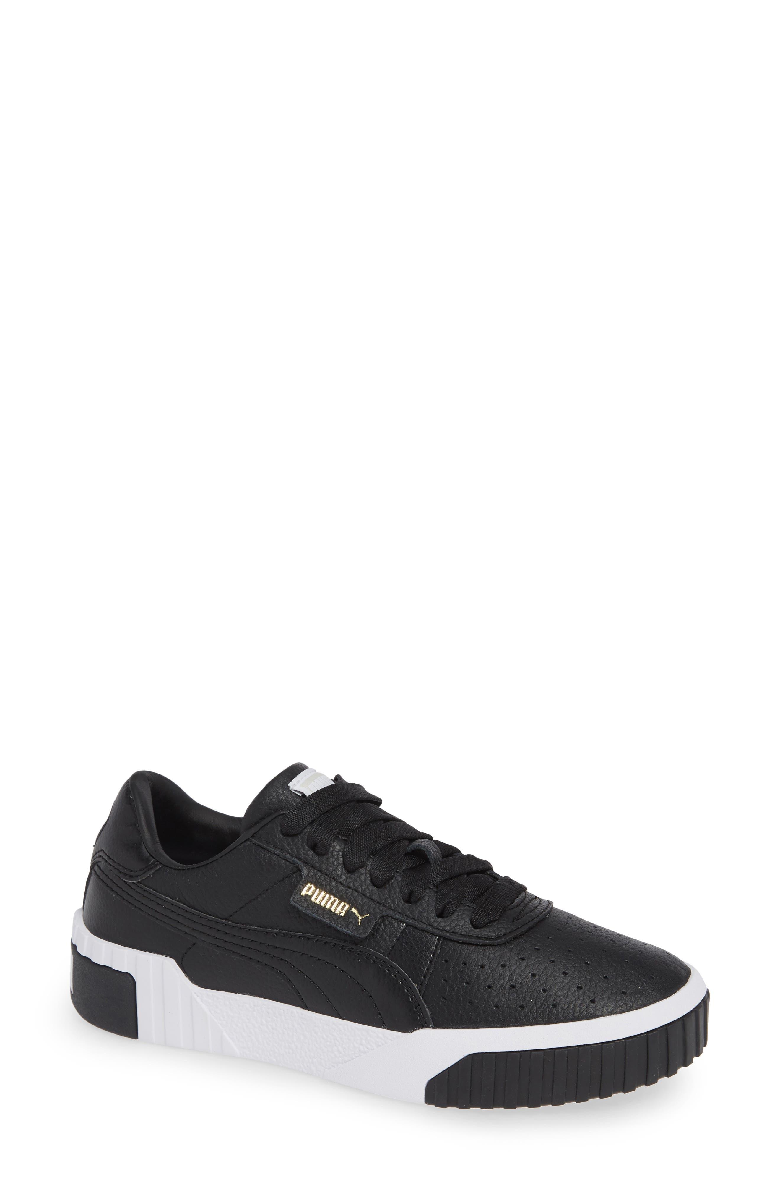 Women'S Cali Low Top Leather Sneakers in Puma Black/ Puma White