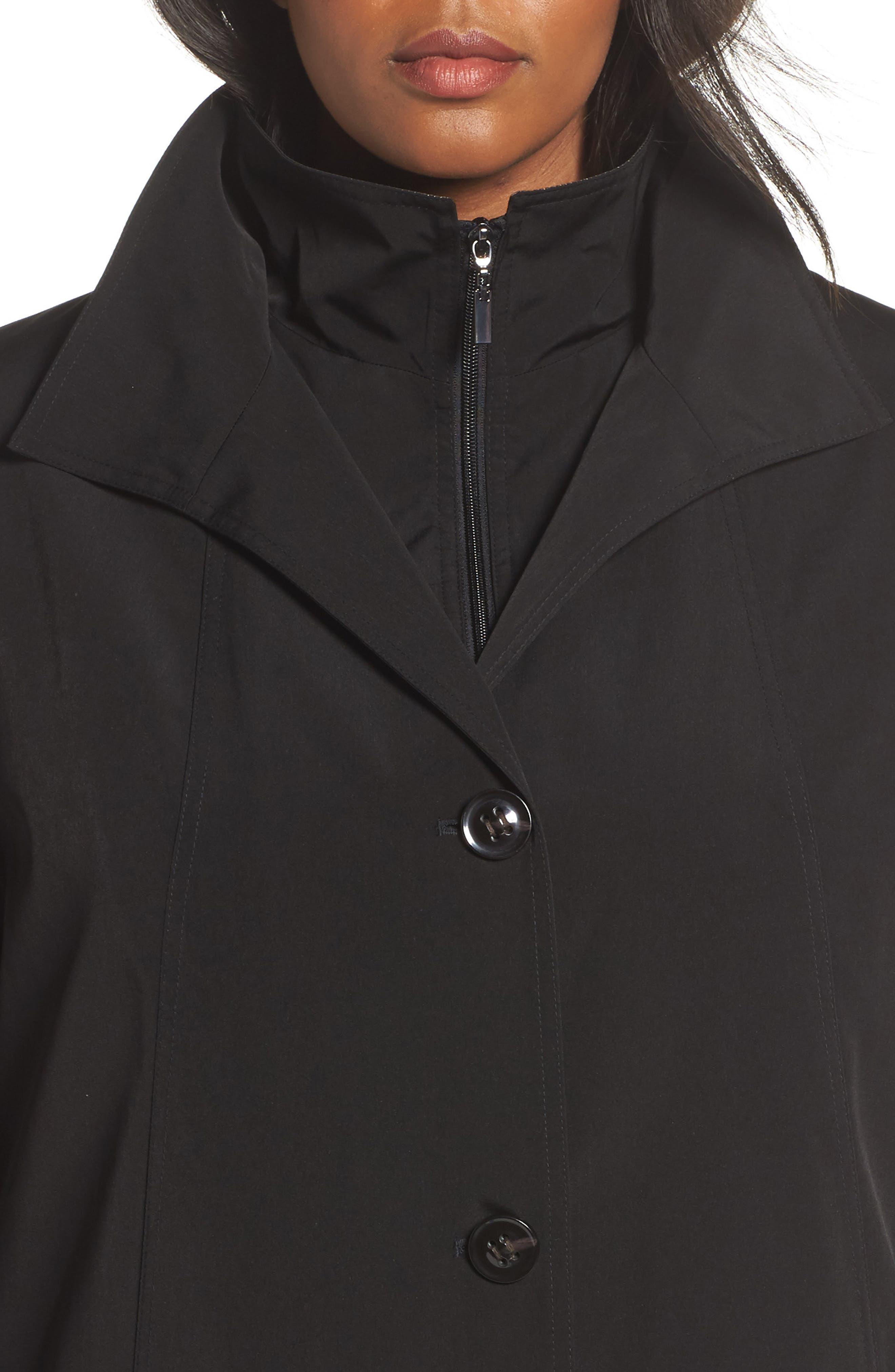 Long Raincoat with Detachable Hood & Liner,                             Alternate thumbnail 4, color,                             BLACK
