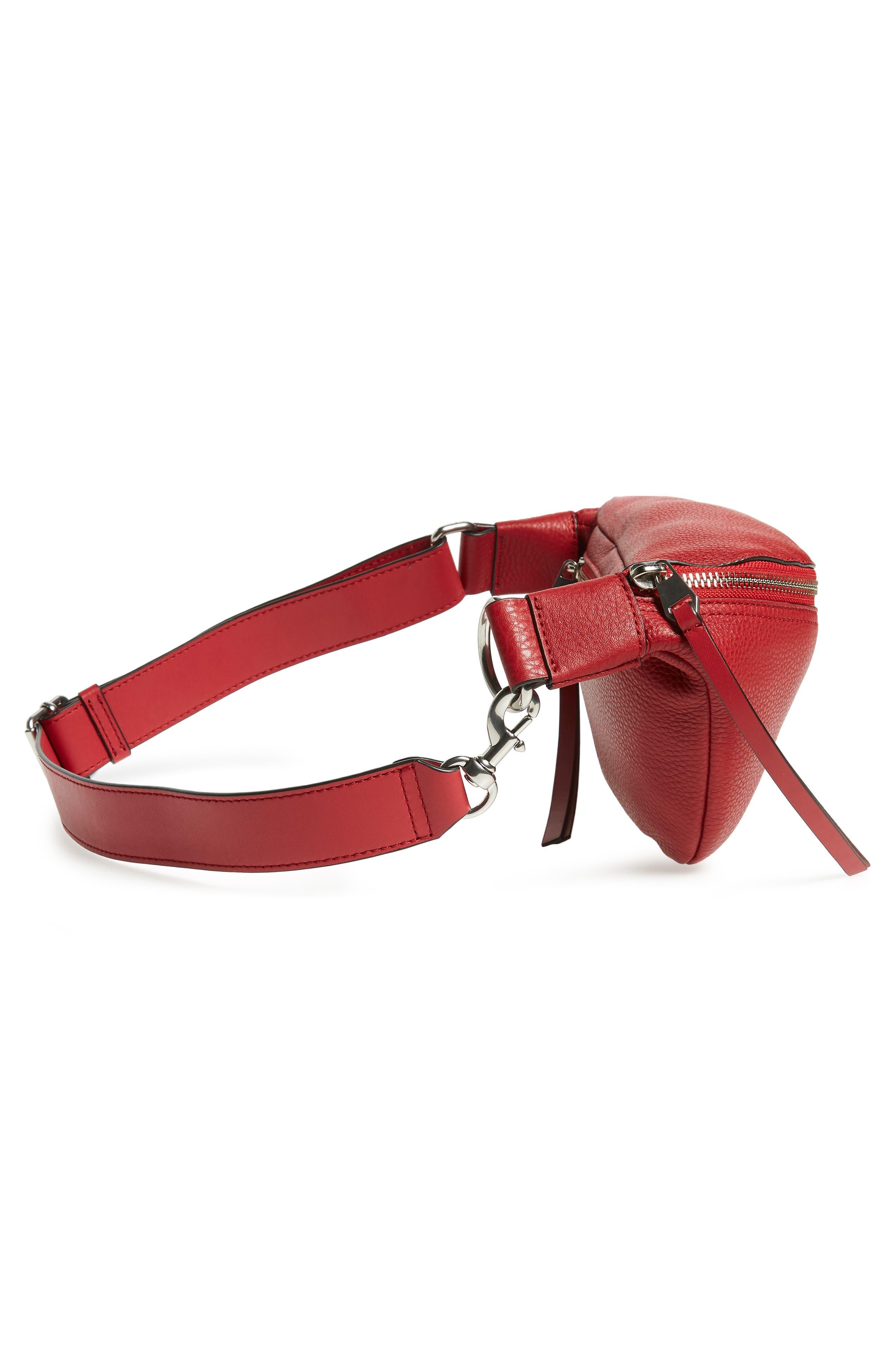 Bree Leather Belt Bag,                             Alternate thumbnail 6, color,                             SCARLET