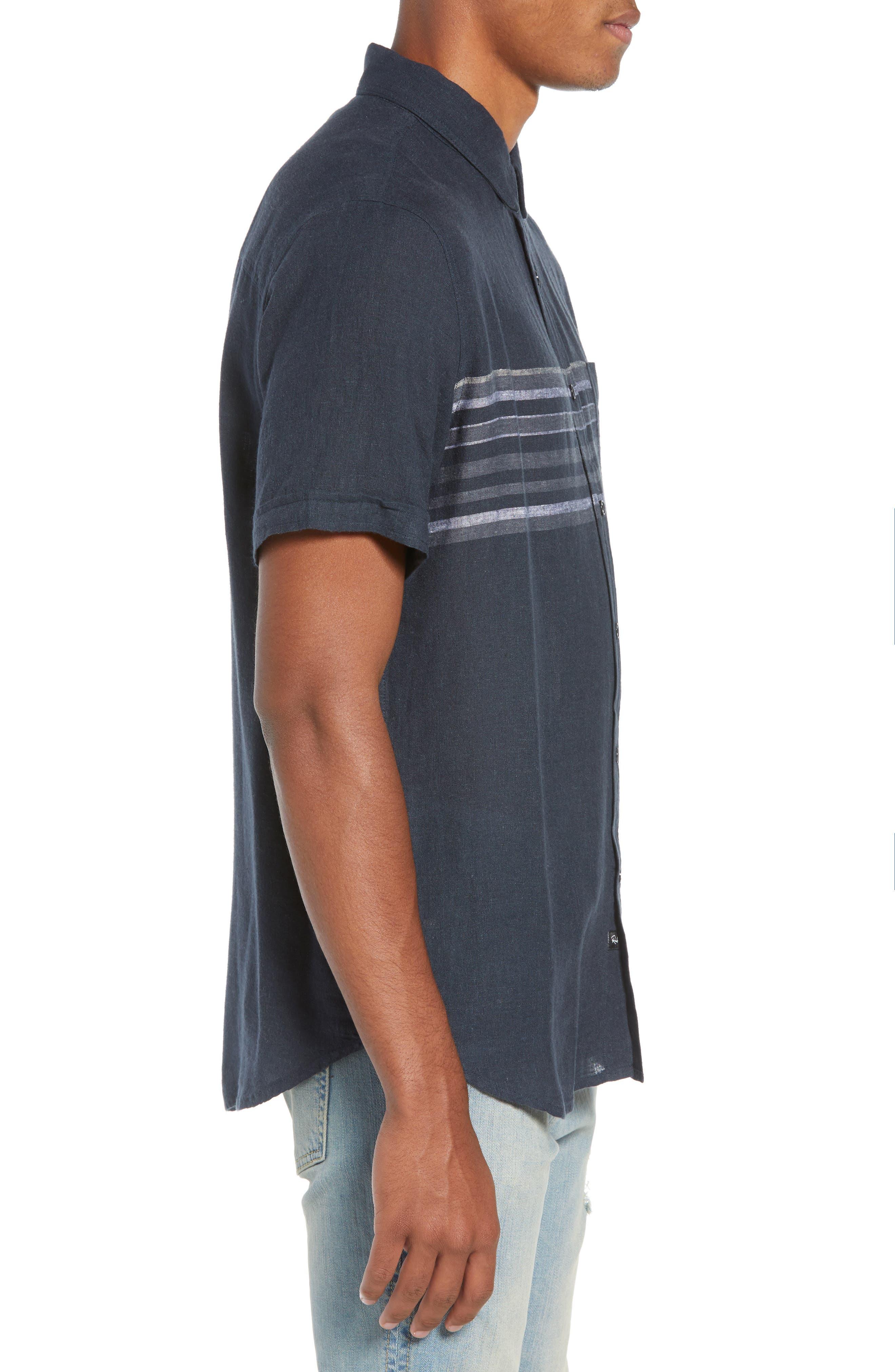 Carson Regular Fit Stripe Woven Shirt,                             Alternate thumbnail 4, color,                             NAVY/WHITE/GREY STRIPE