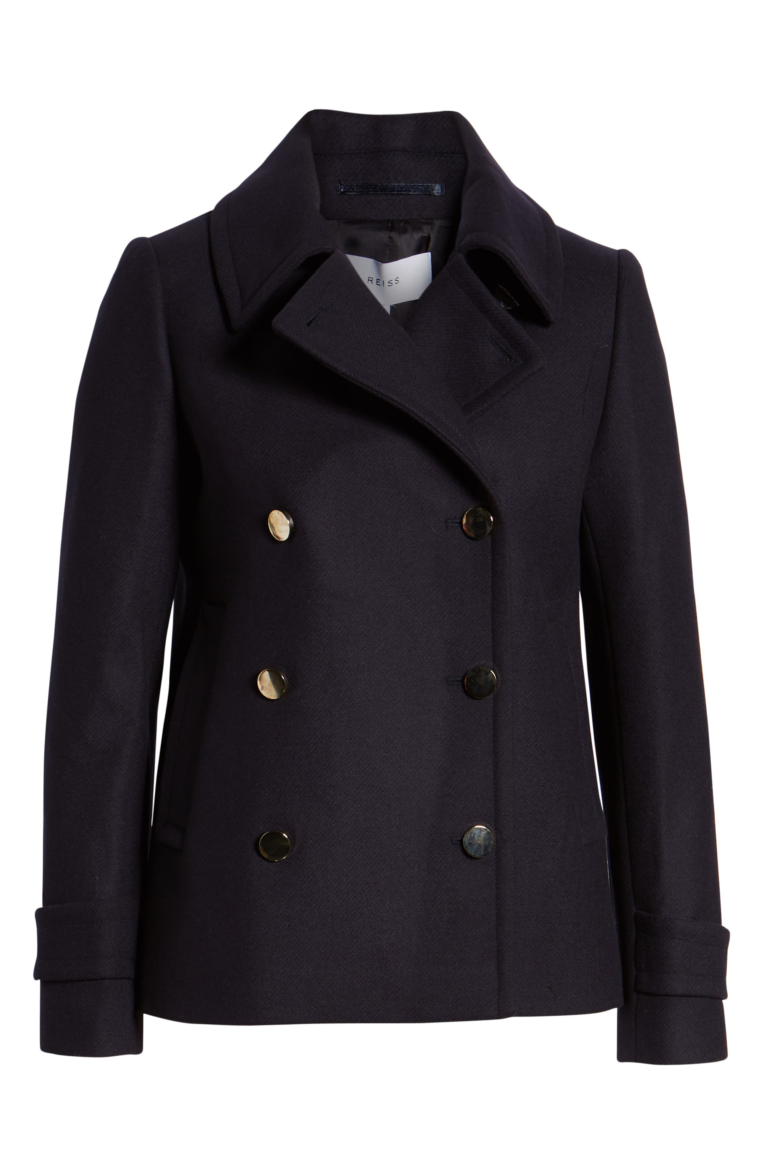 Becall Double Breasted Wool Blend Peacoat,                             Alternate thumbnail 3, color,                             NAVY