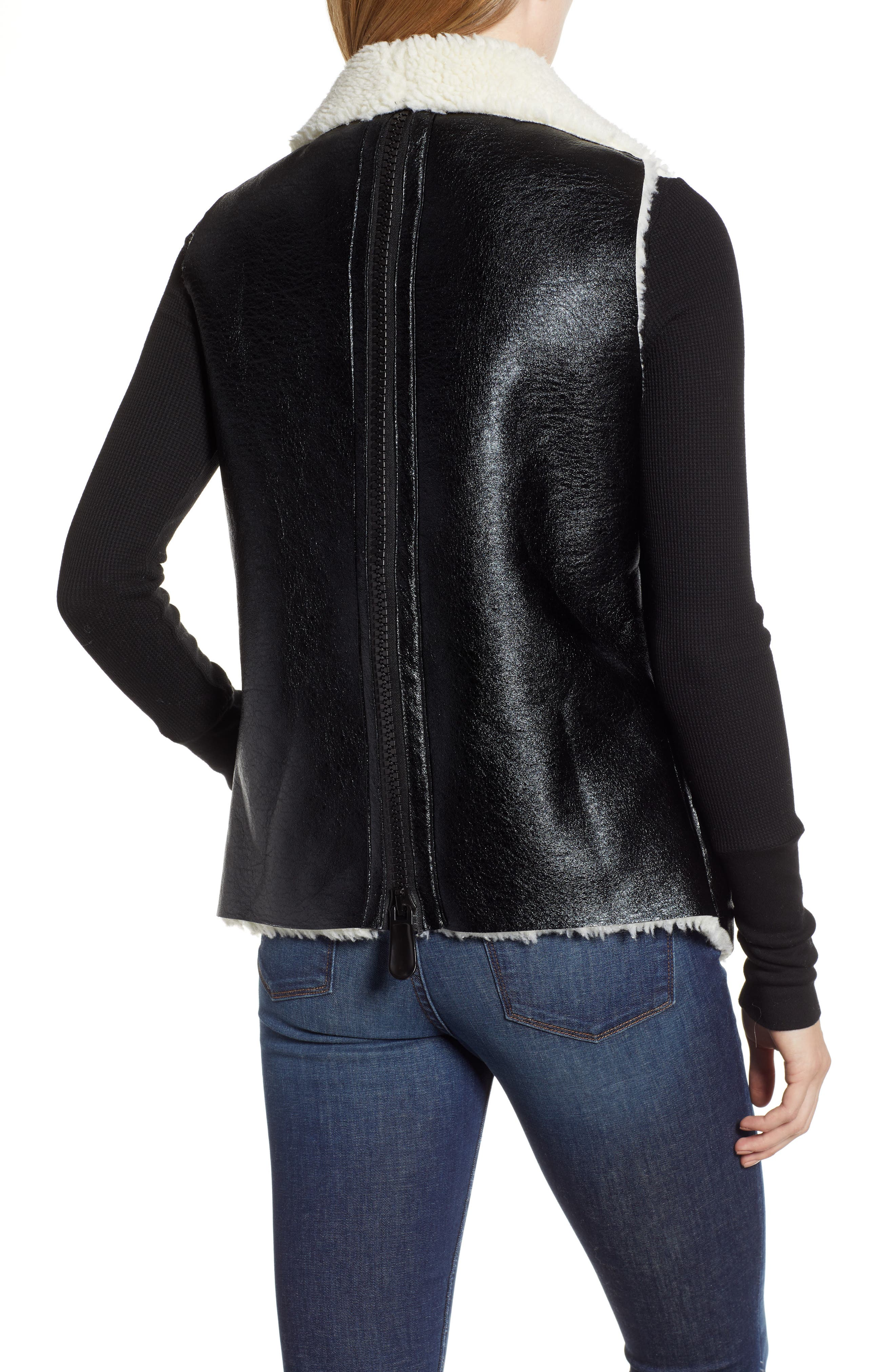 Fly Away Faux Shearling Back Zip Vest,                             Alternate thumbnail 2, color,                             BLACK