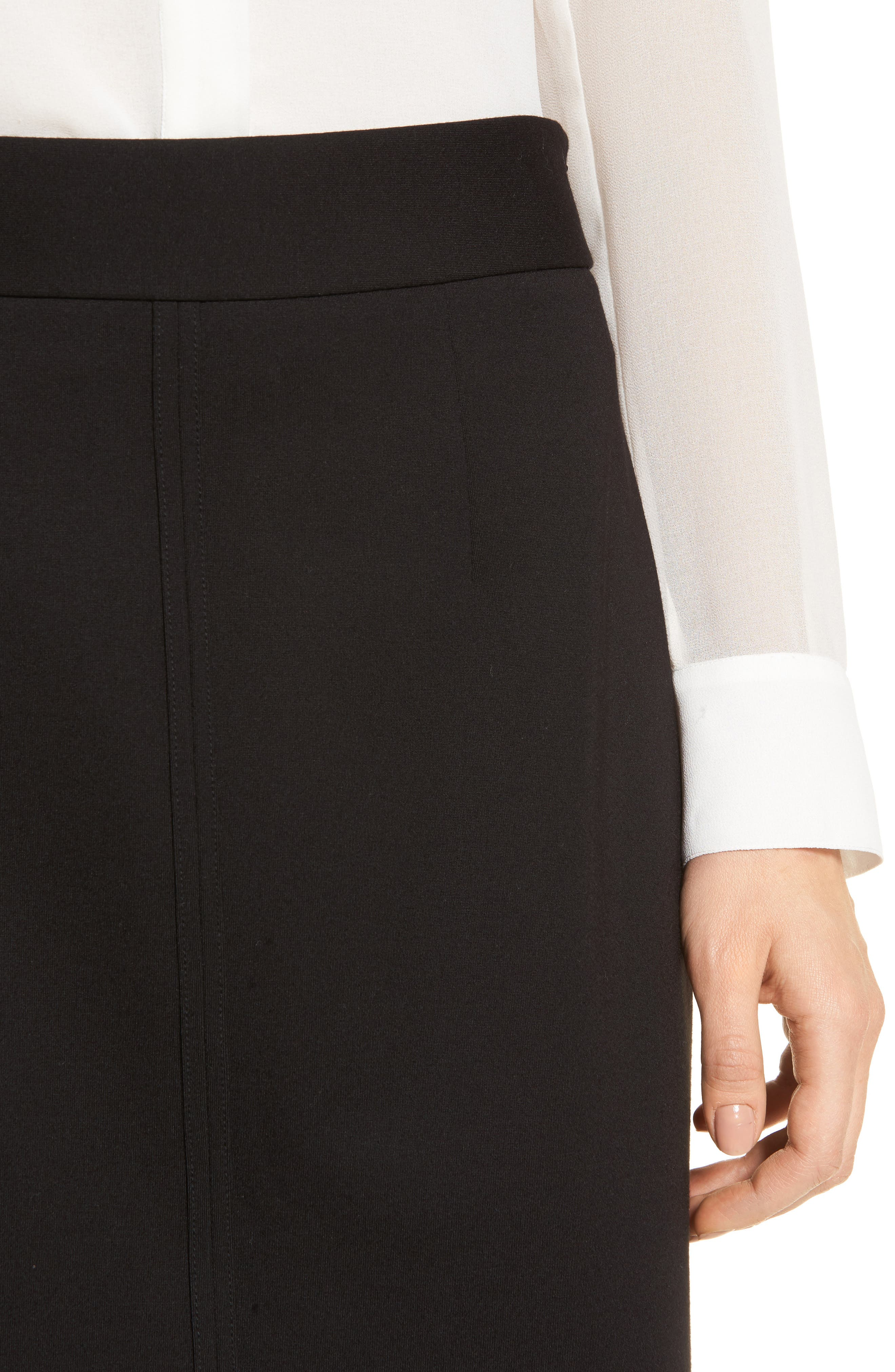 Ponte Knit Pencil Skirt,                             Alternate thumbnail 4, color,                             001