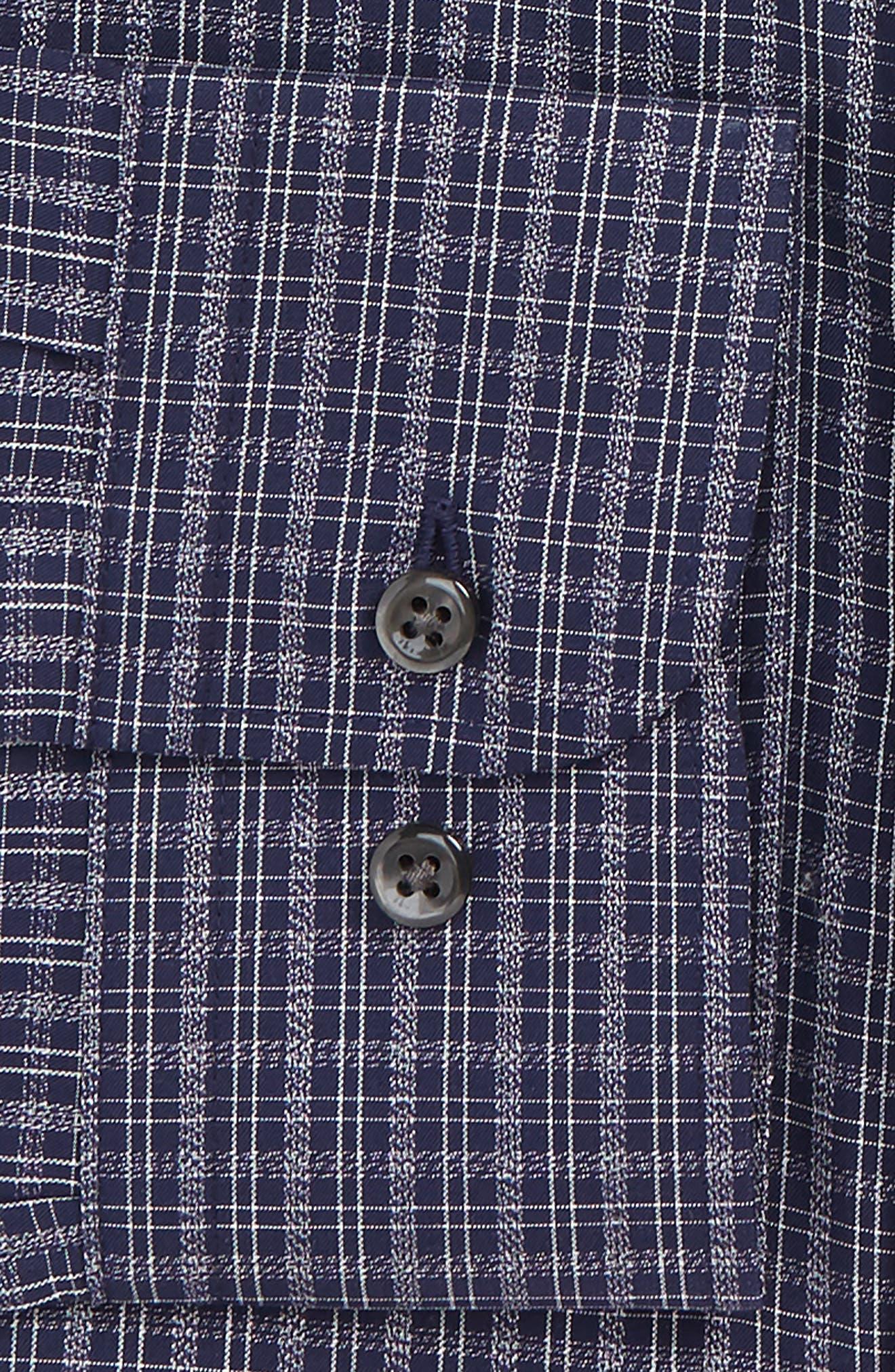 Trim Fit Non-Iron Plaid Dress Shirt,                             Alternate thumbnail 6, color,                             NAVY NIGHT