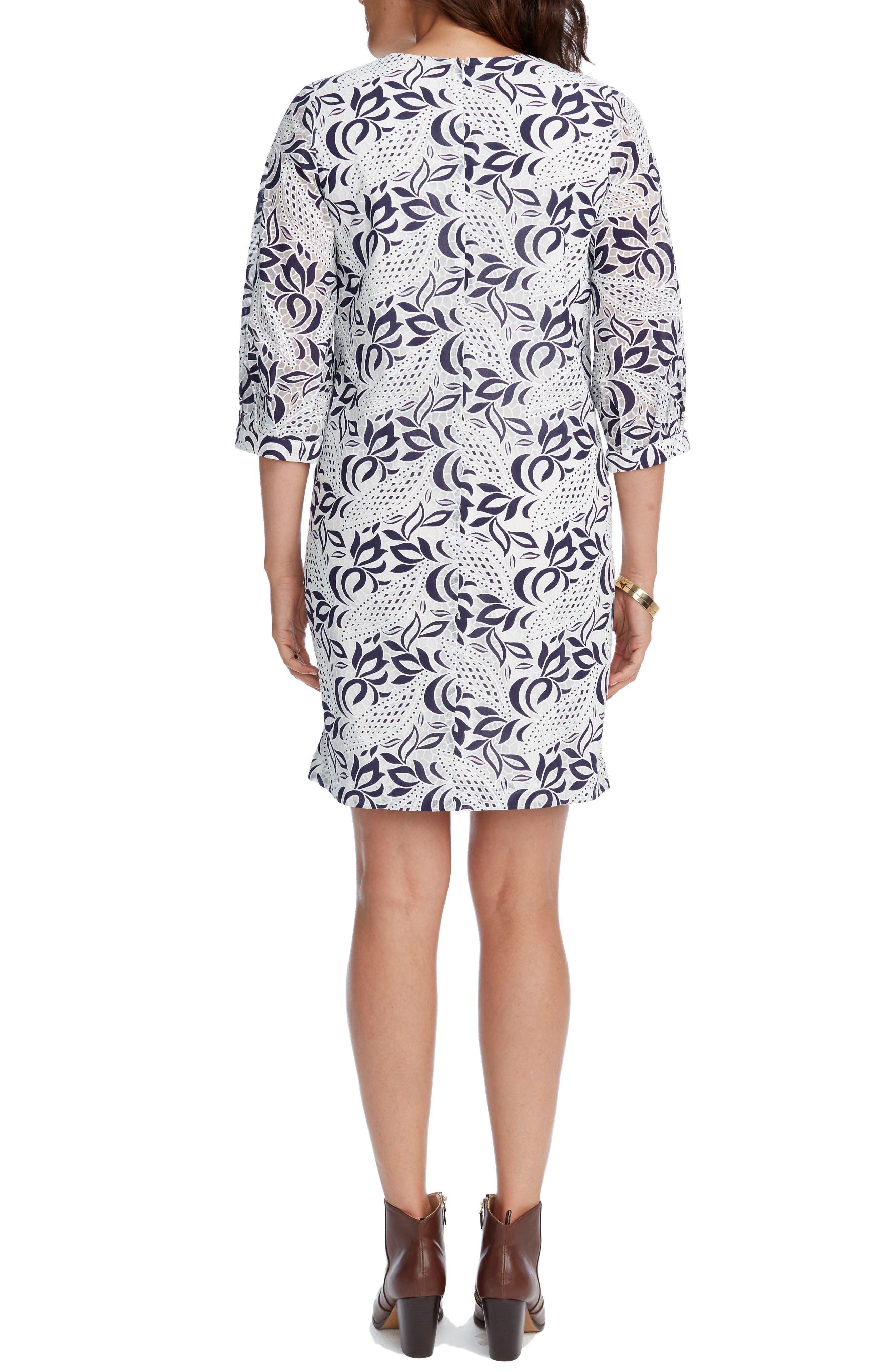 'Kelly' Lace Maternity Dress,                             Alternate thumbnail 3, color,                             NAVY/ WHITE
