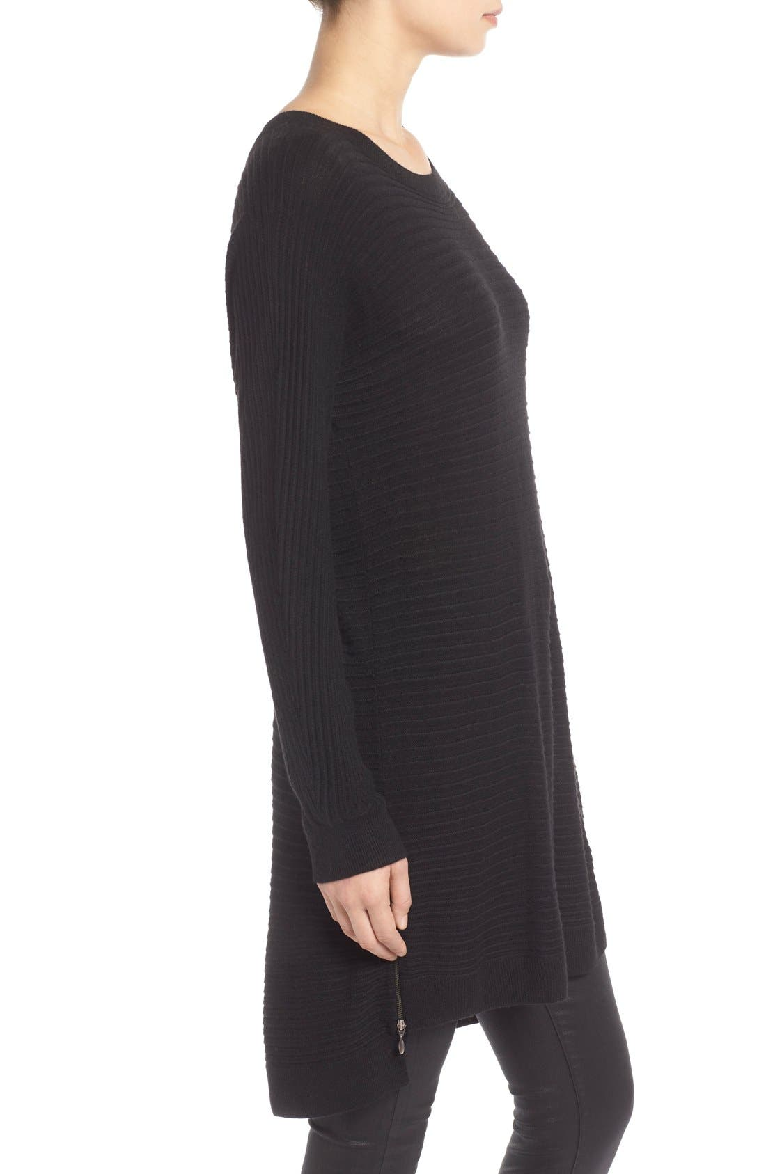 Side Zip Tunic Sweater,                             Alternate thumbnail 2, color,                             001