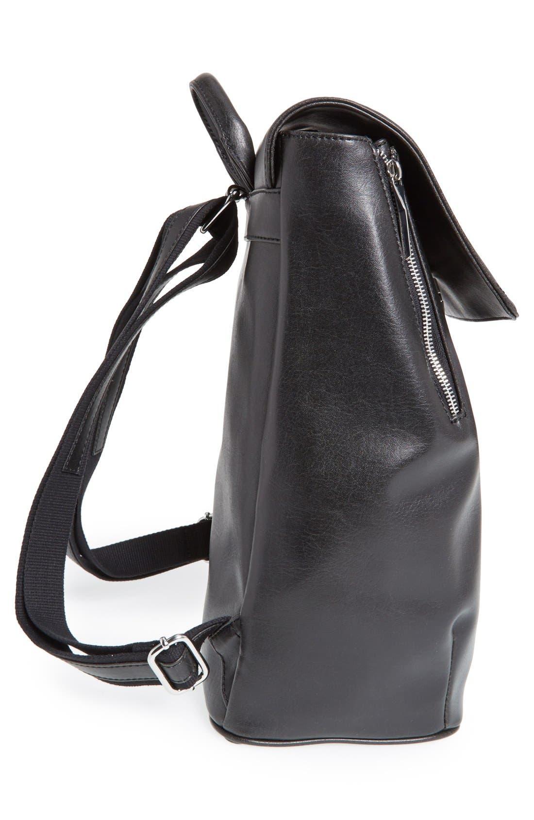 'Fabi' Faux Leather Laptop Backpack,                             Alternate thumbnail 5, color,                             BLACK