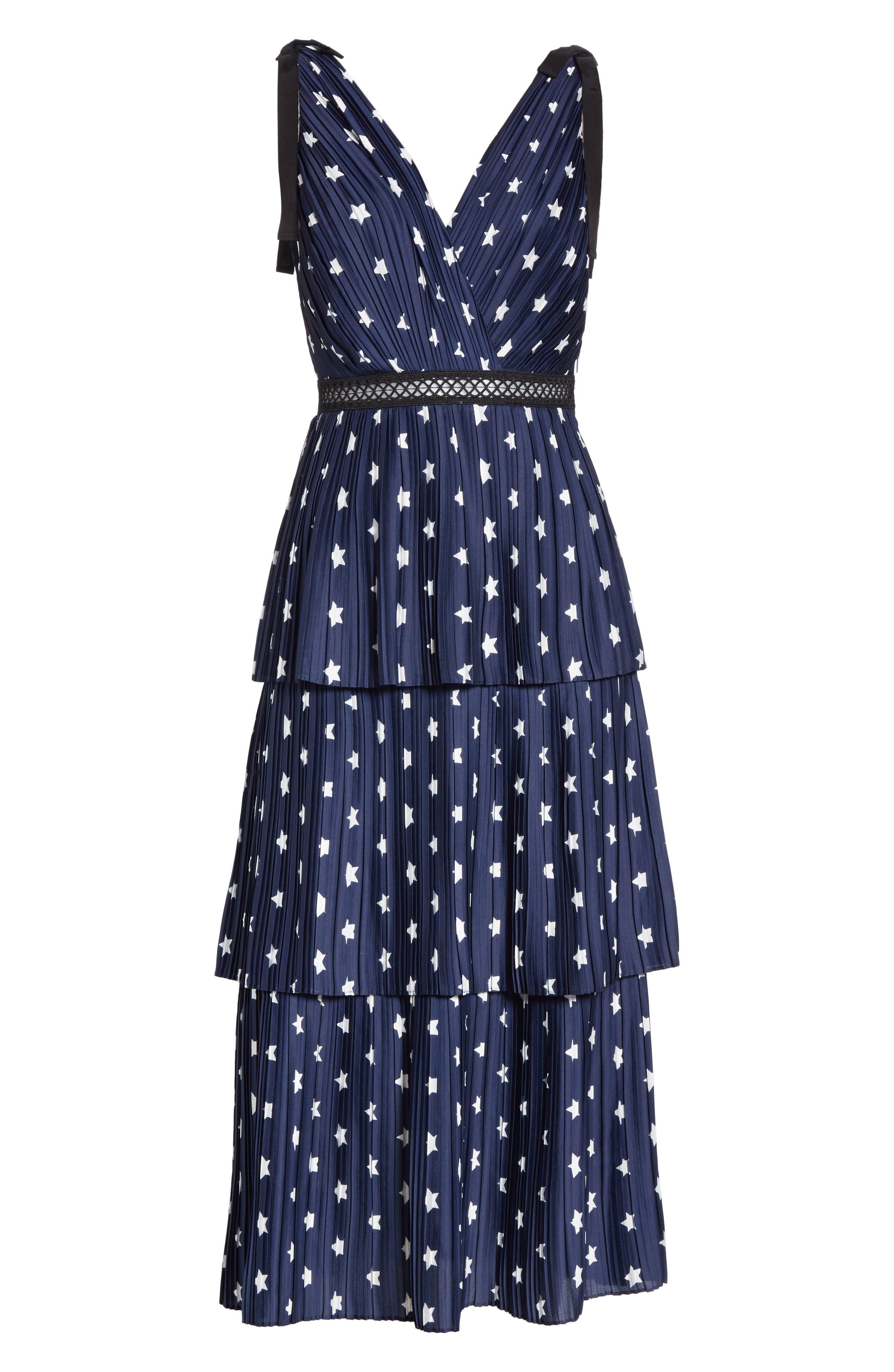 Star Print Tiered Midi Dress,                             Alternate thumbnail 6, color,                             400