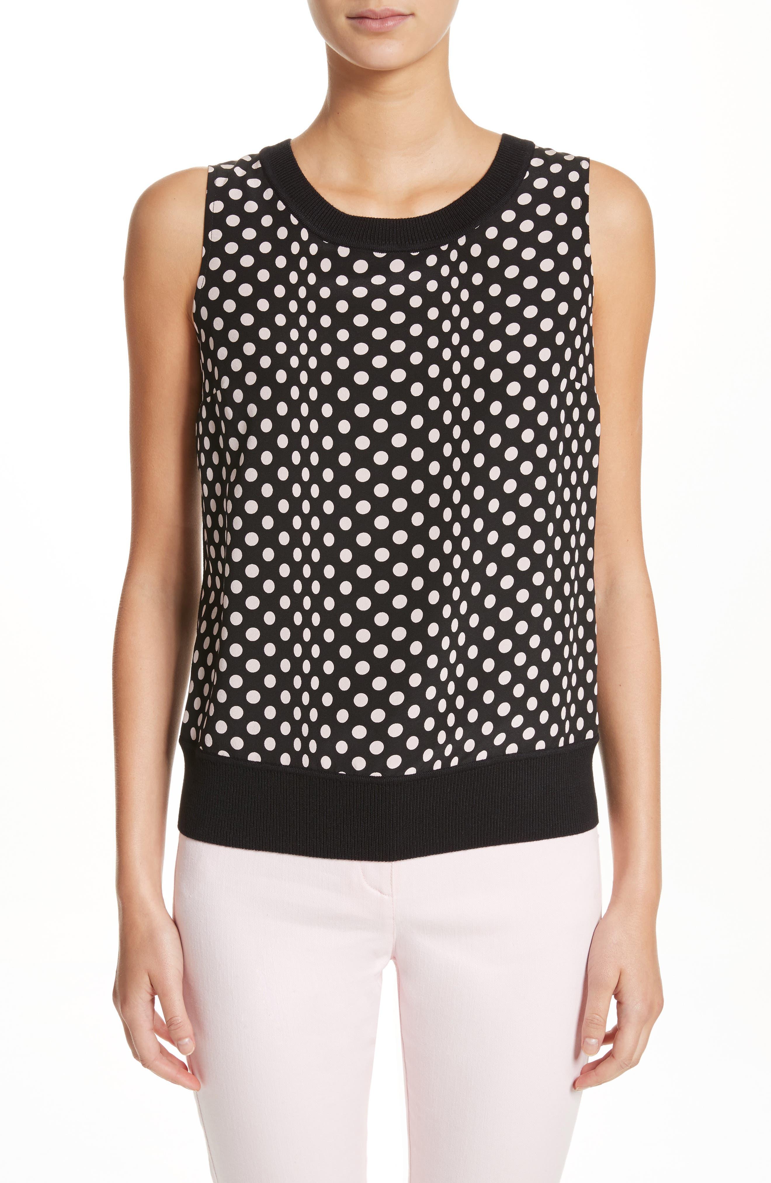 Dot Print Knit Shell,                         Main,                         color, 001