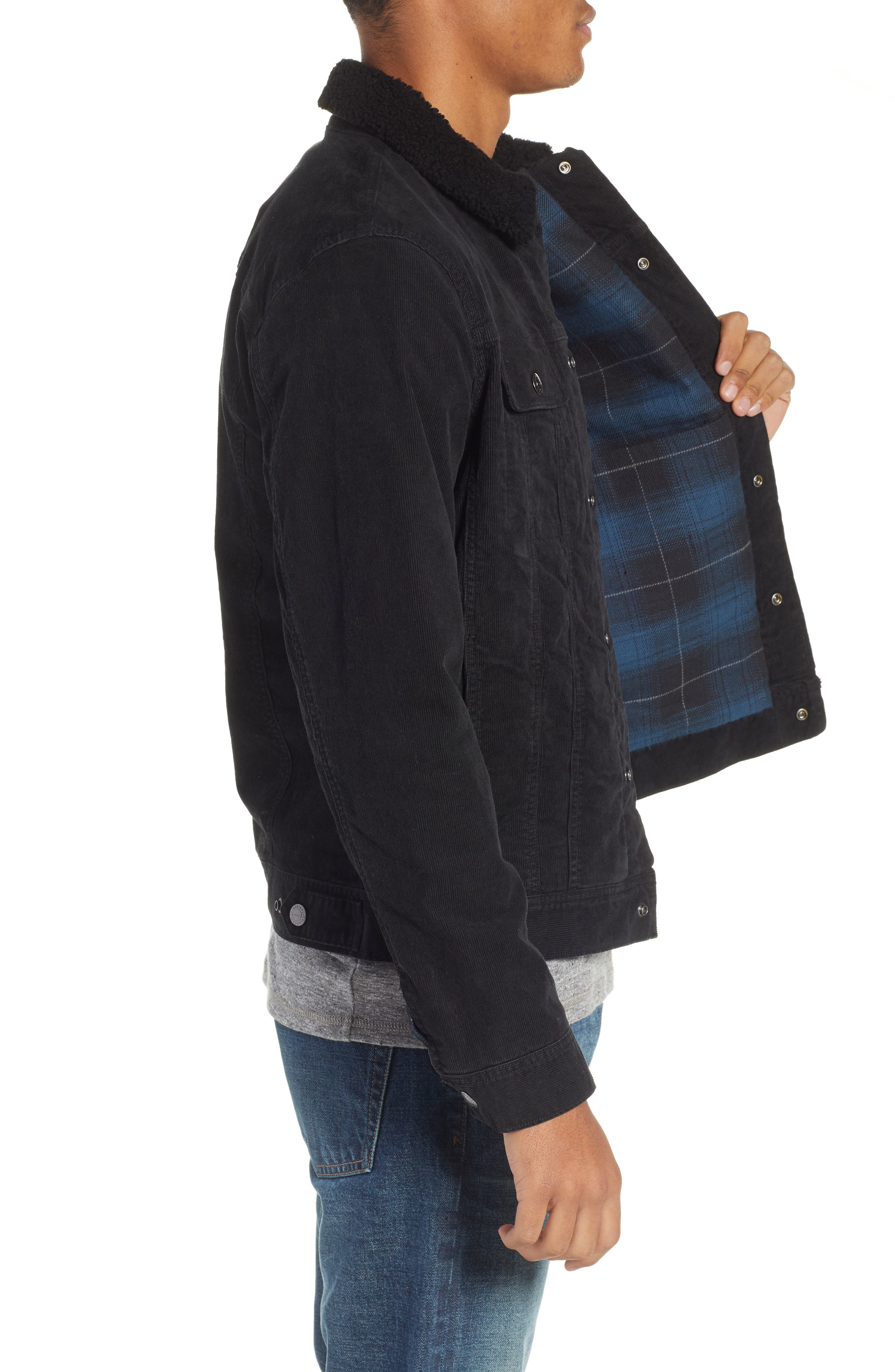 The Dart Corduroy Jacket with Genuine Shearling Collar,                             Alternate thumbnail 3, color,                             SULFUR BLACK
