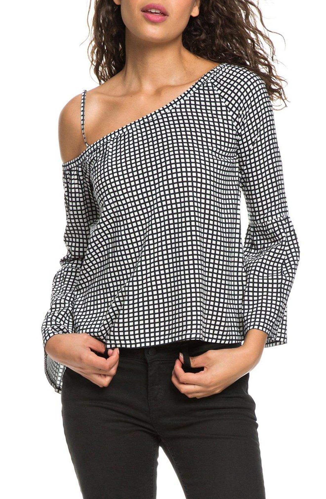 Print One-Shoulder Top,                         Main,                         color, MARSHMALLOW SQUARE LAND