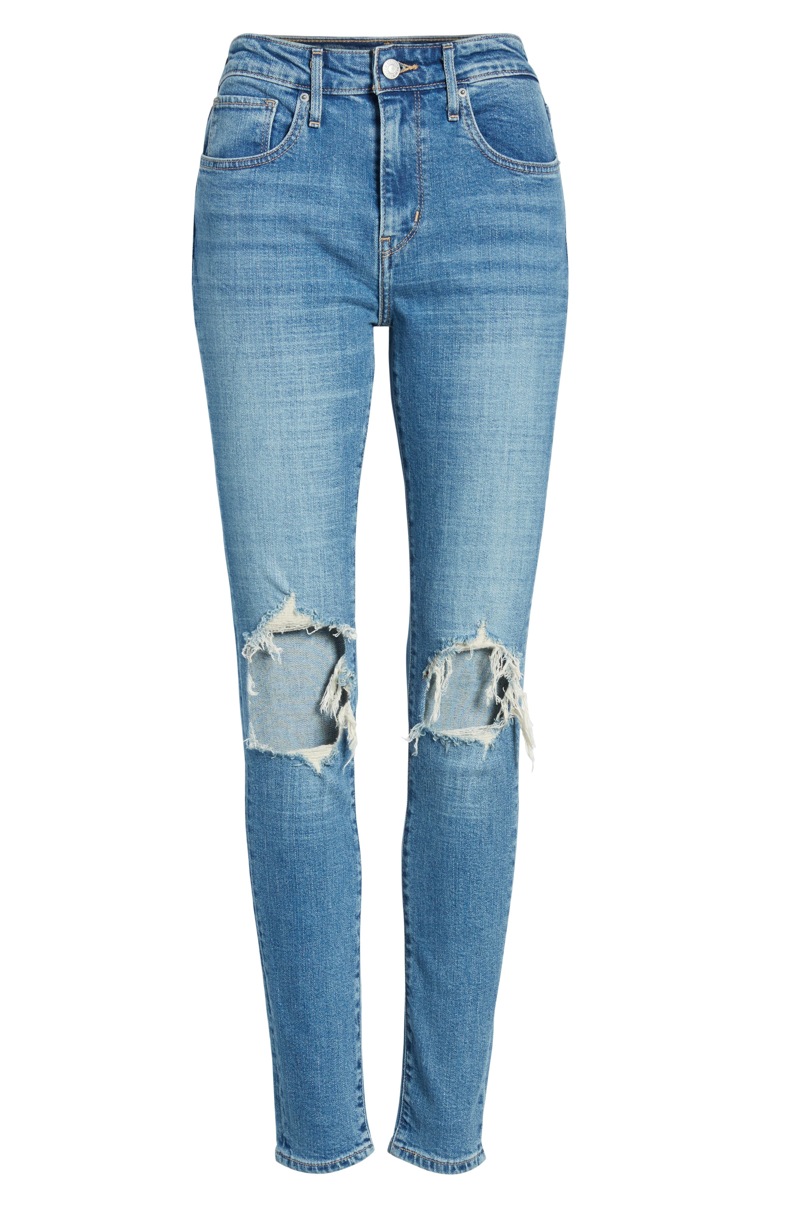 LEVI'S<SUP>®</SUP>,                             721 Ripped High Waist Skinny Jeans,                             Alternate thumbnail 3, color,                             RUGGED INDIGO