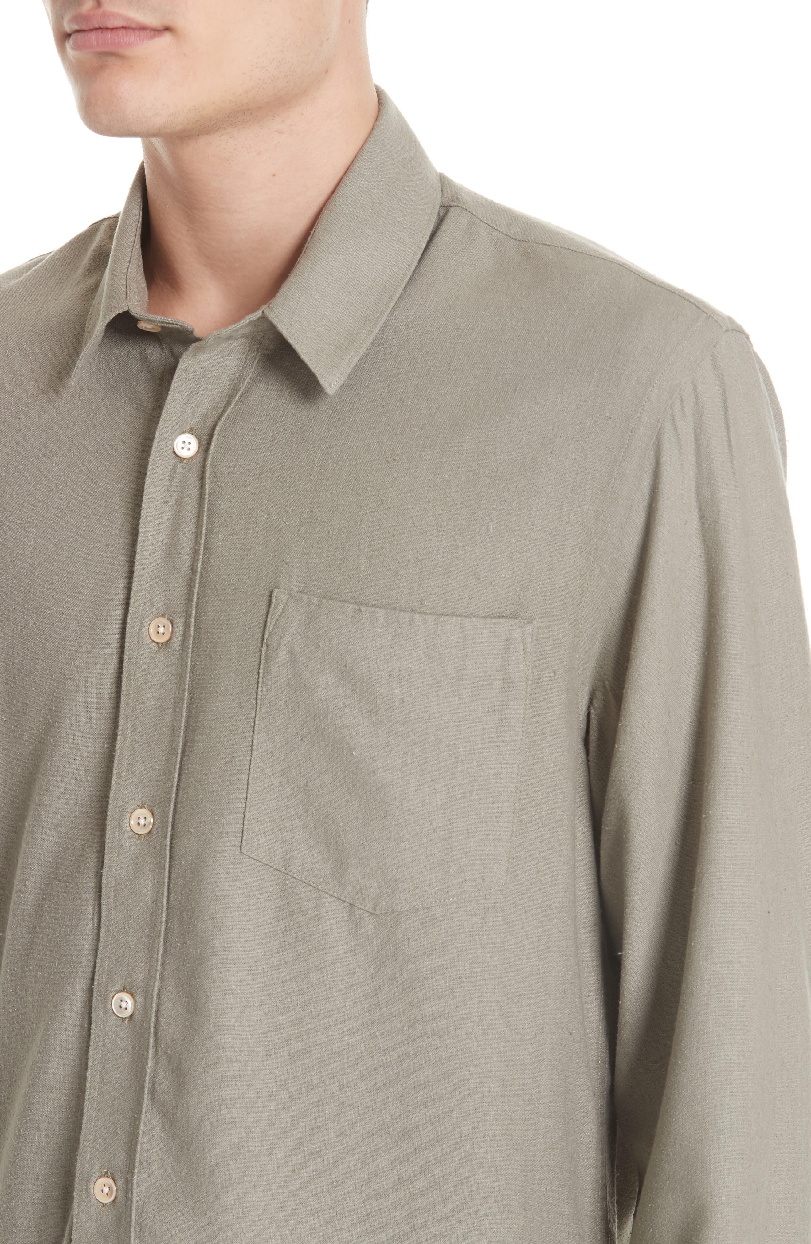 Silk Shirt,                             Alternate thumbnail 4, color,                             DRAB NOIL