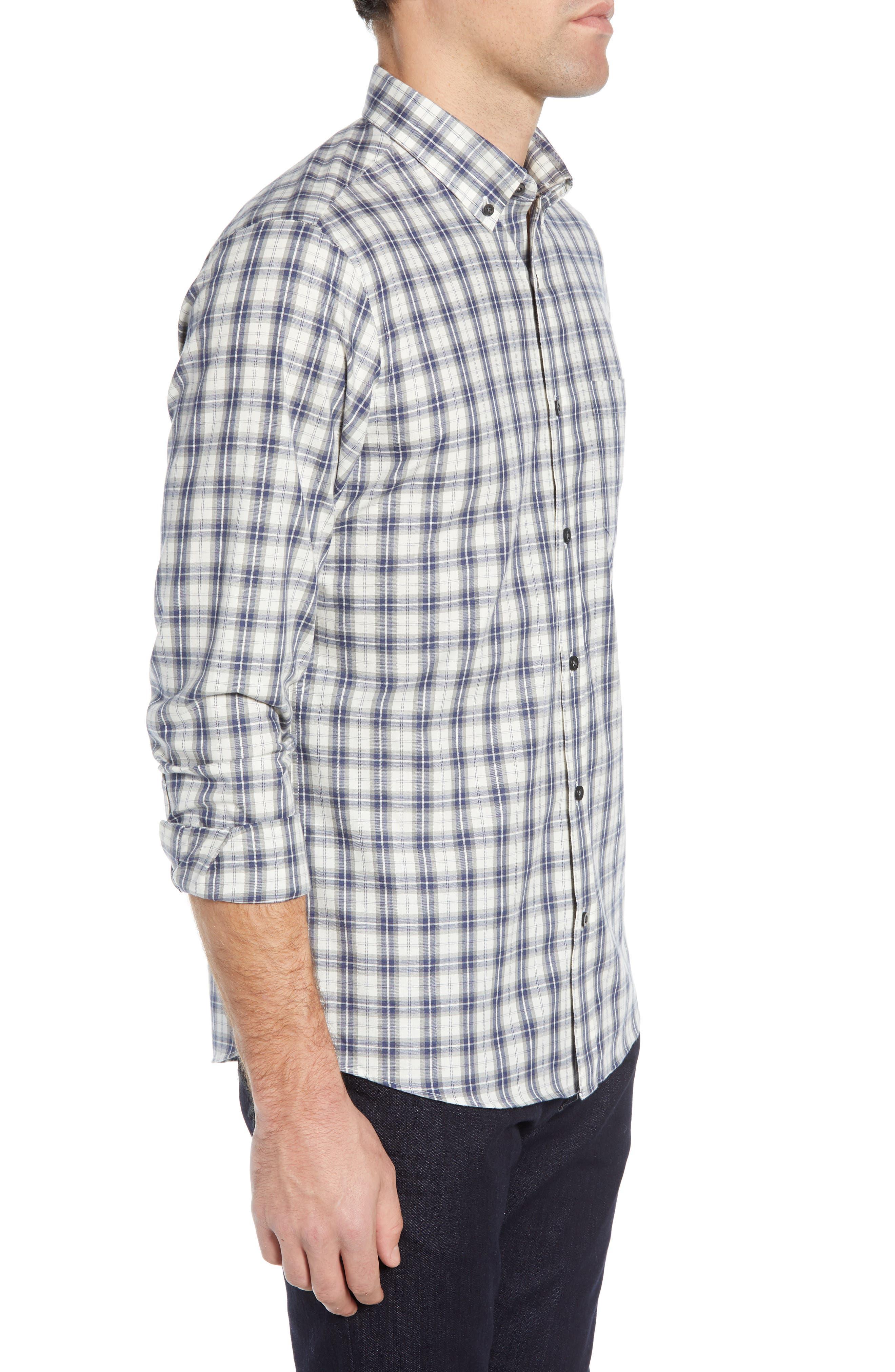 Slim Fit Plaid Sport Shirt,                             Alternate thumbnail 4, color,                             WHITE BLUE ENSIGN GREY PLAID