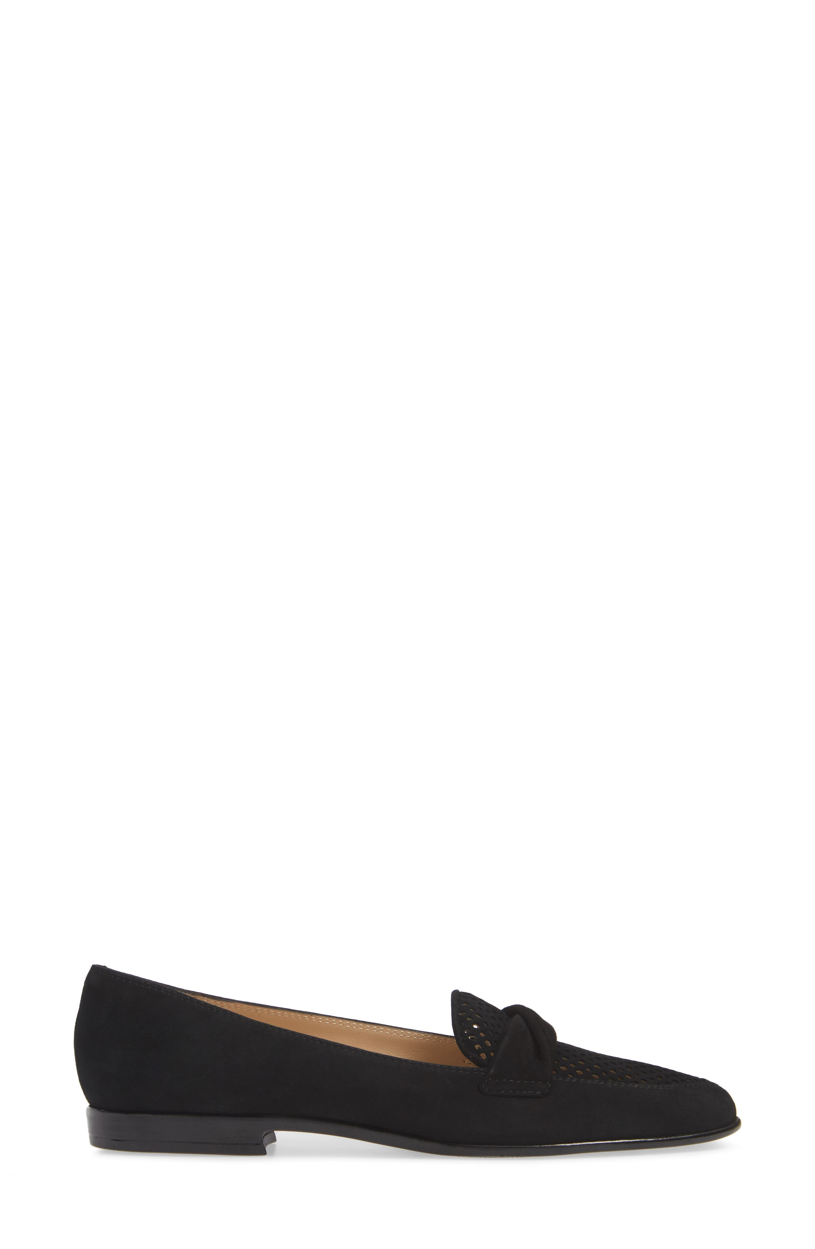 AMALFI BY RANGONI,                             Osimo X Perforated Loafer,                             Alternate thumbnail 3, color,                             BLACK SUEDE