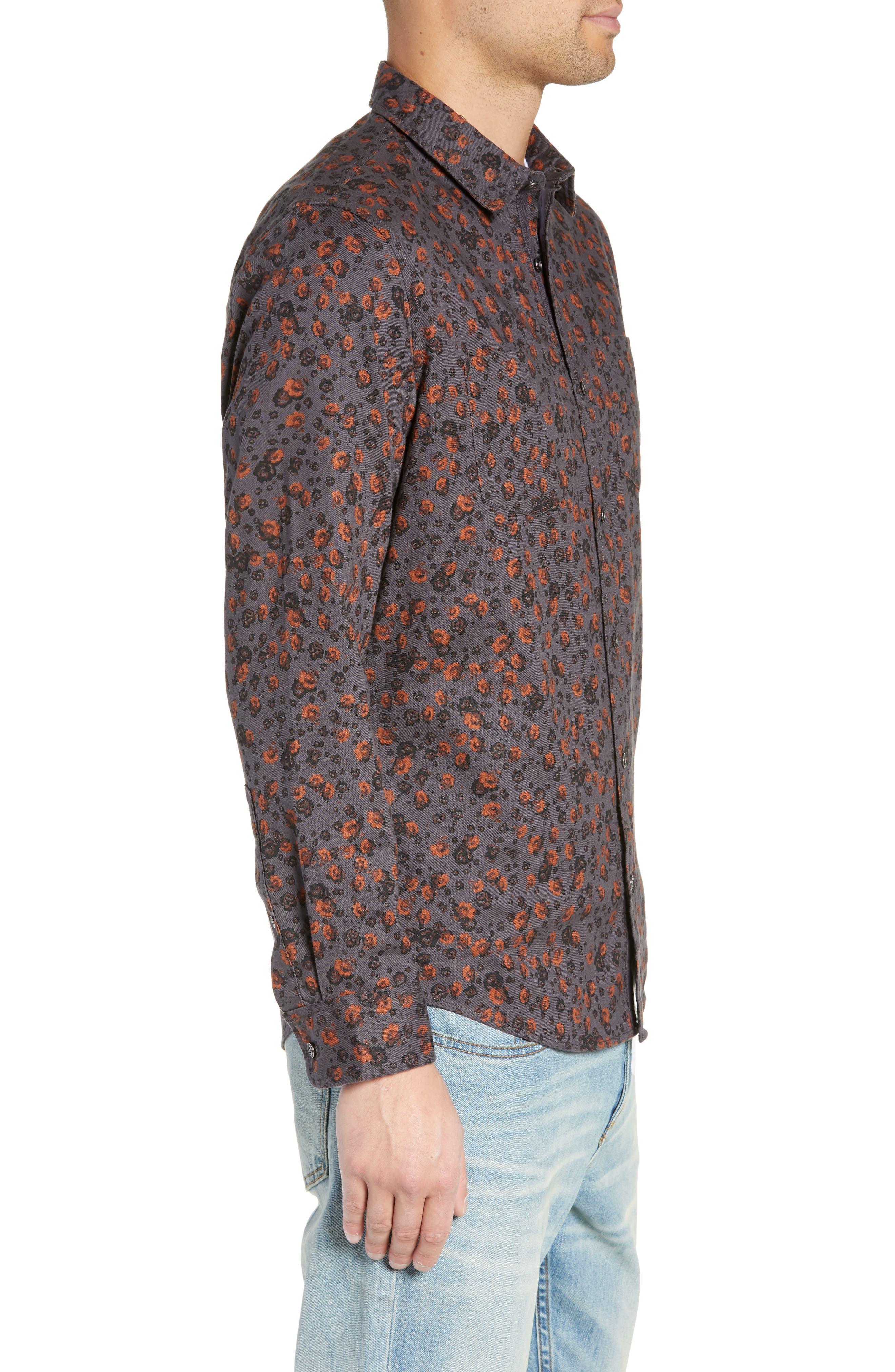 Floral Flannel Sport Shirt,                             Alternate thumbnail 4, color,                             GREY METEOR FOLK FLORAL