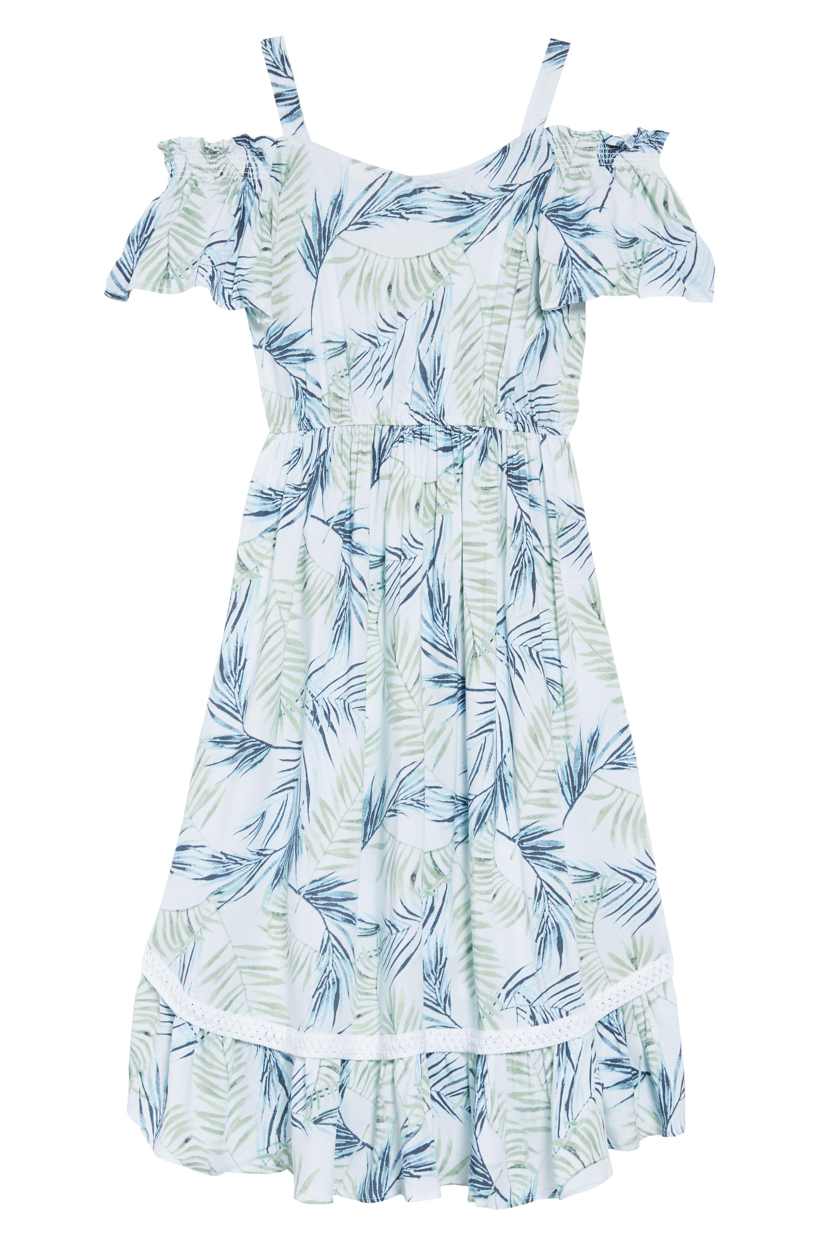 Palm Leaf Print Cold Shoulder Dress,                             Alternate thumbnail 2, color,                             100
