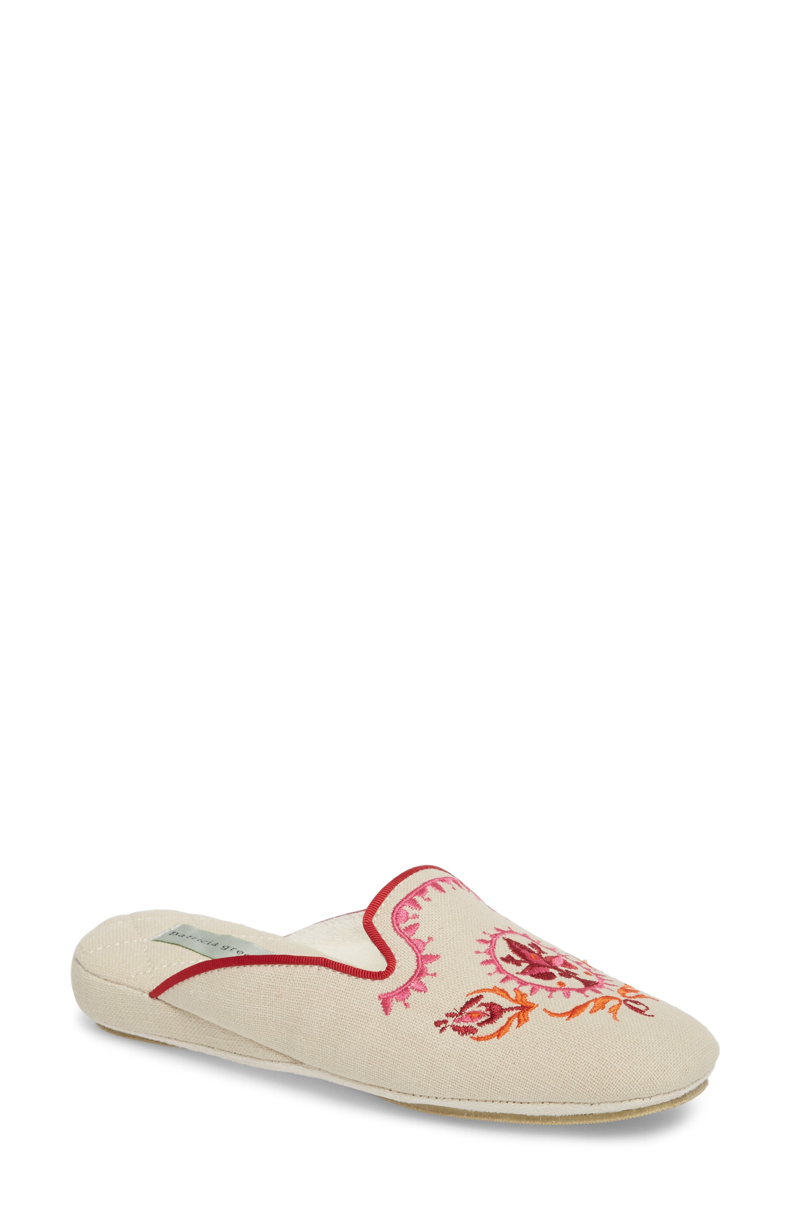 Rosa Embroidered Slipper,                         Main,                         color, PINK FABRIC