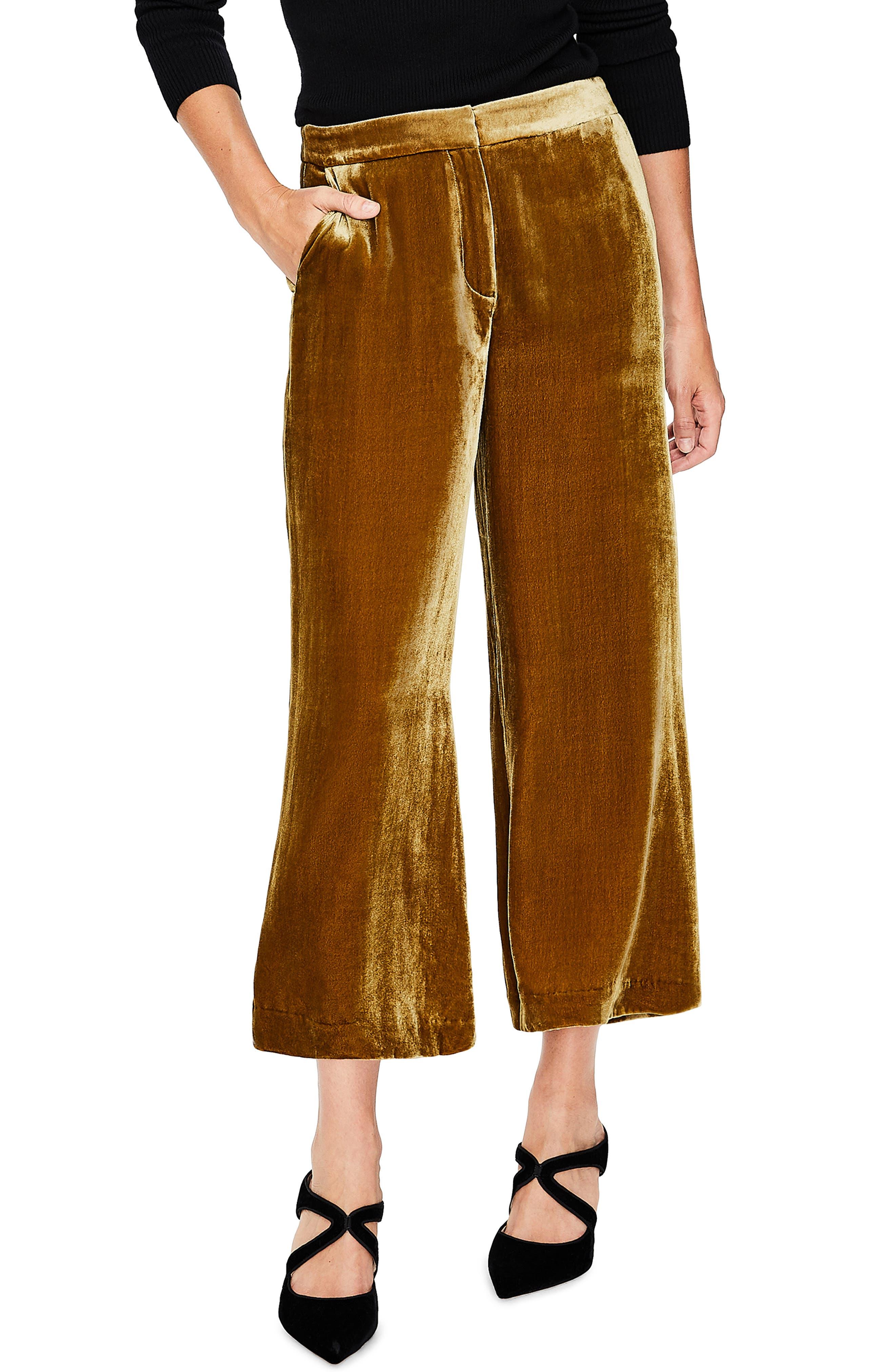 Lyndhurst Velvet Wide Leg Crop Pants, Main, color, 704
