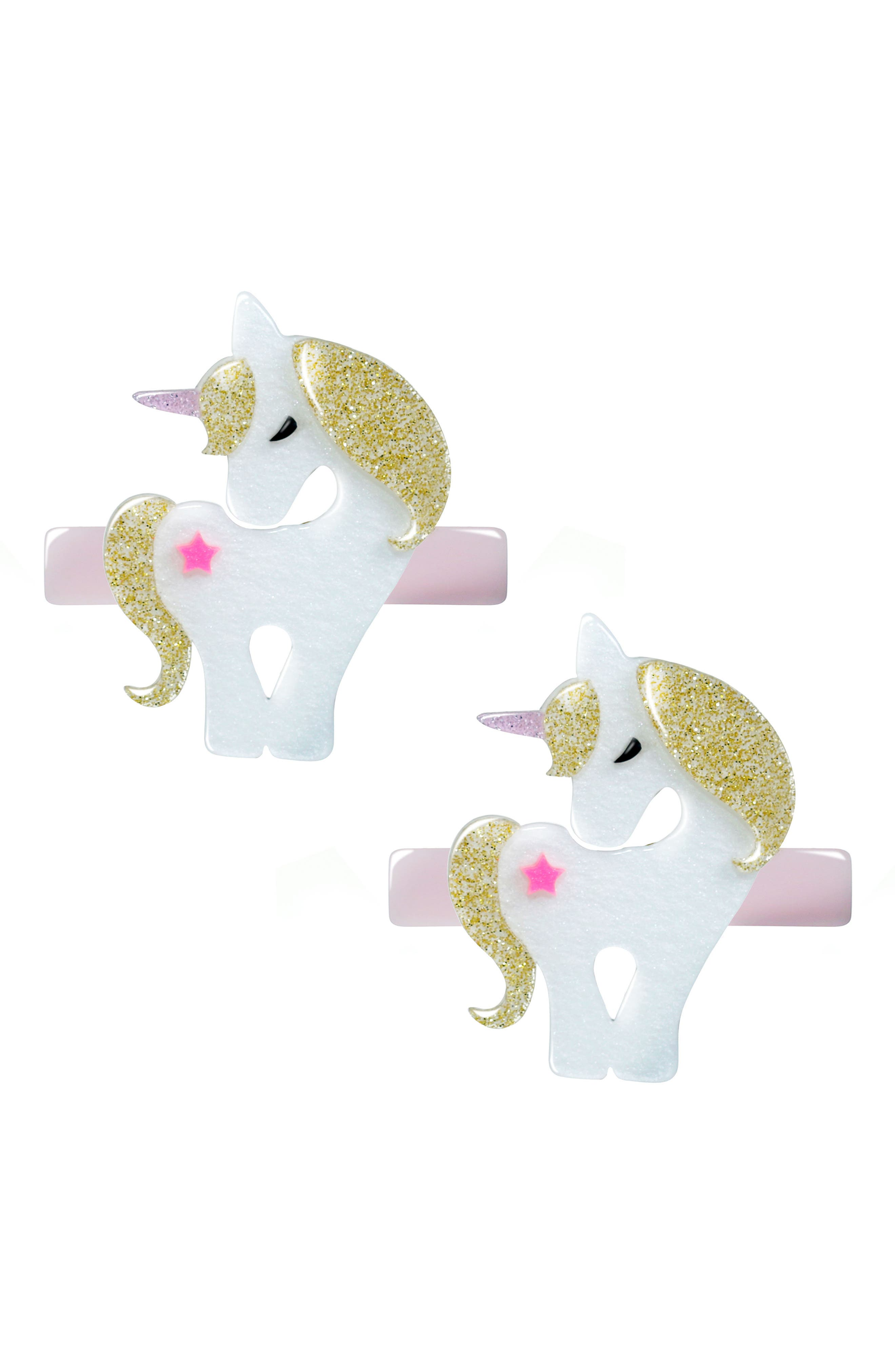 Lilies & Roses NY Set of 2 Unicorn Hair Clips, Main, color, 710