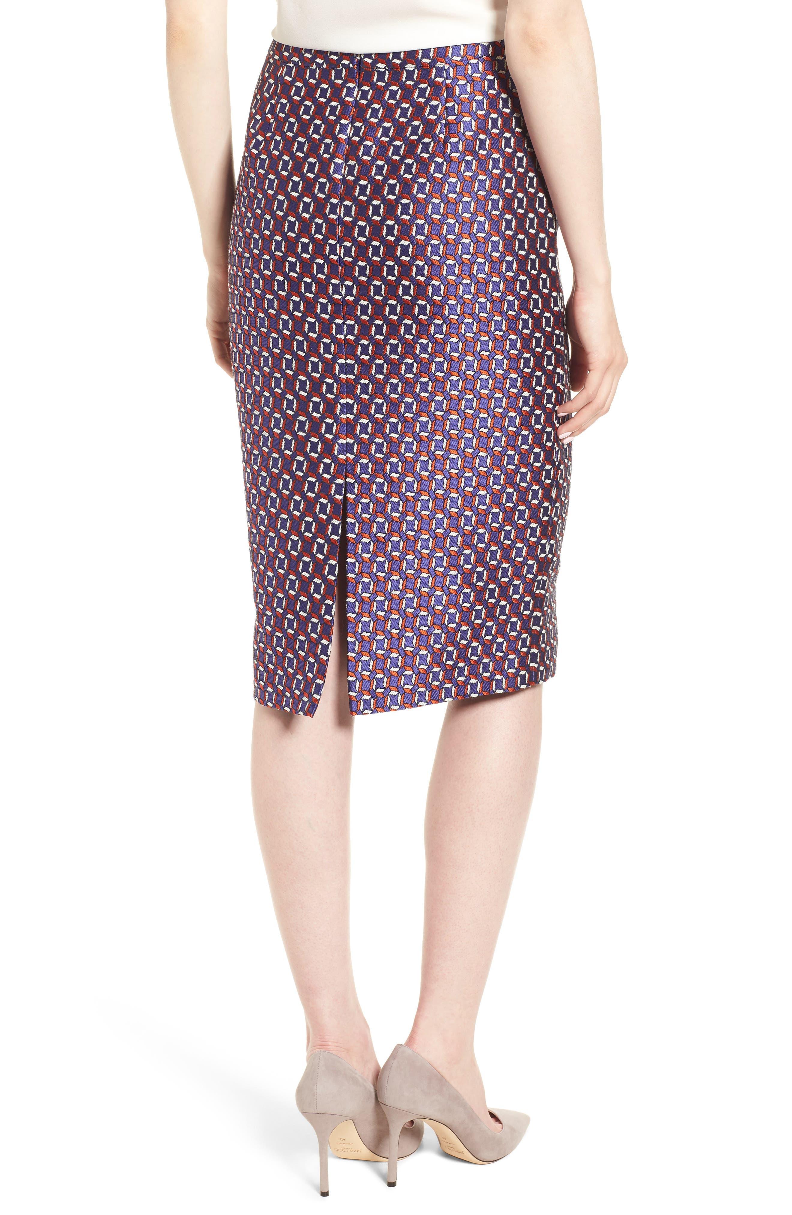 Varines Jacquard Pencil Skirt,                             Alternate thumbnail 2, color,                             575