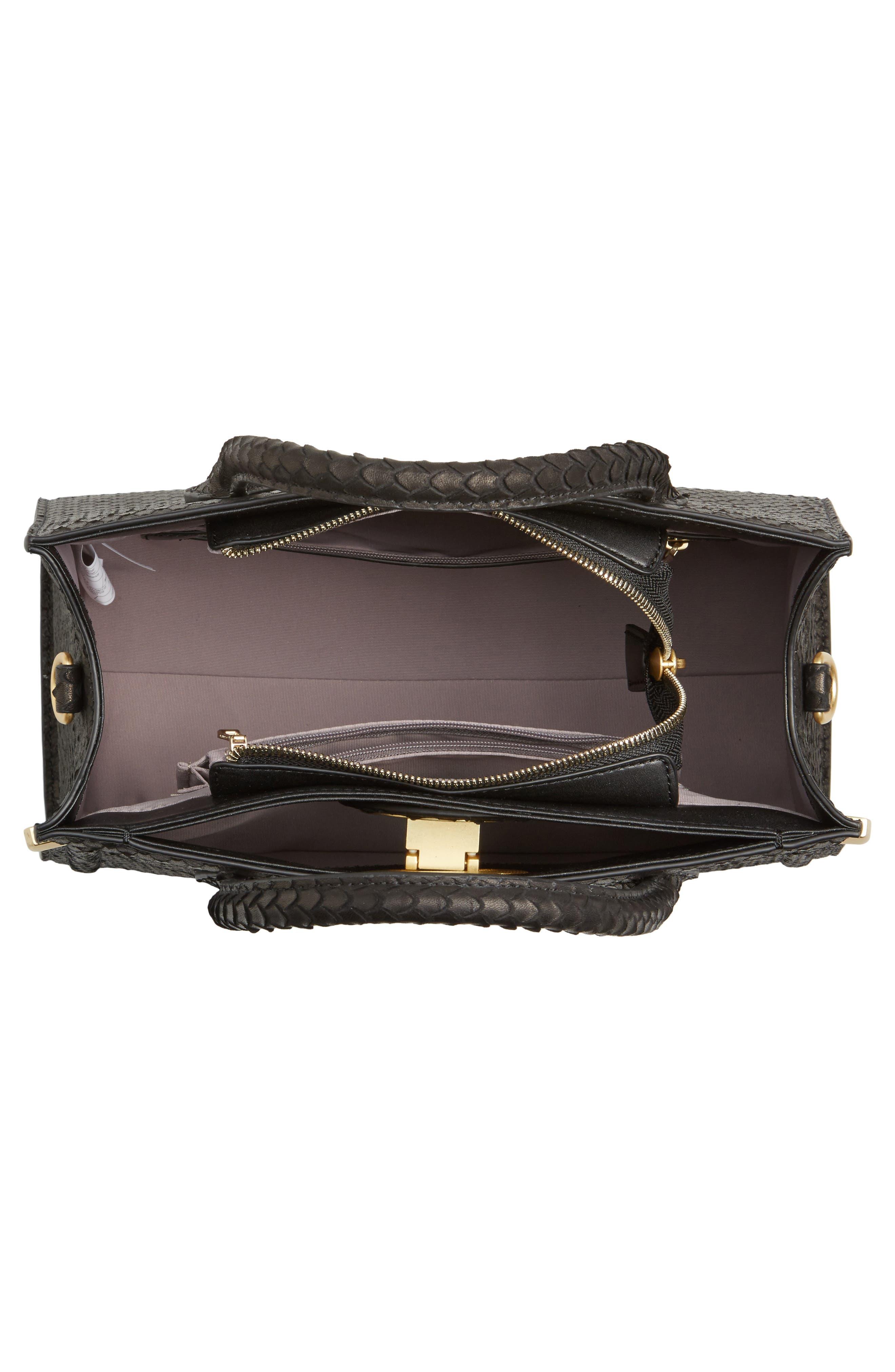 Céline Dion Octave Snake Embossed Leather Satchel,                             Alternate thumbnail 4, color,