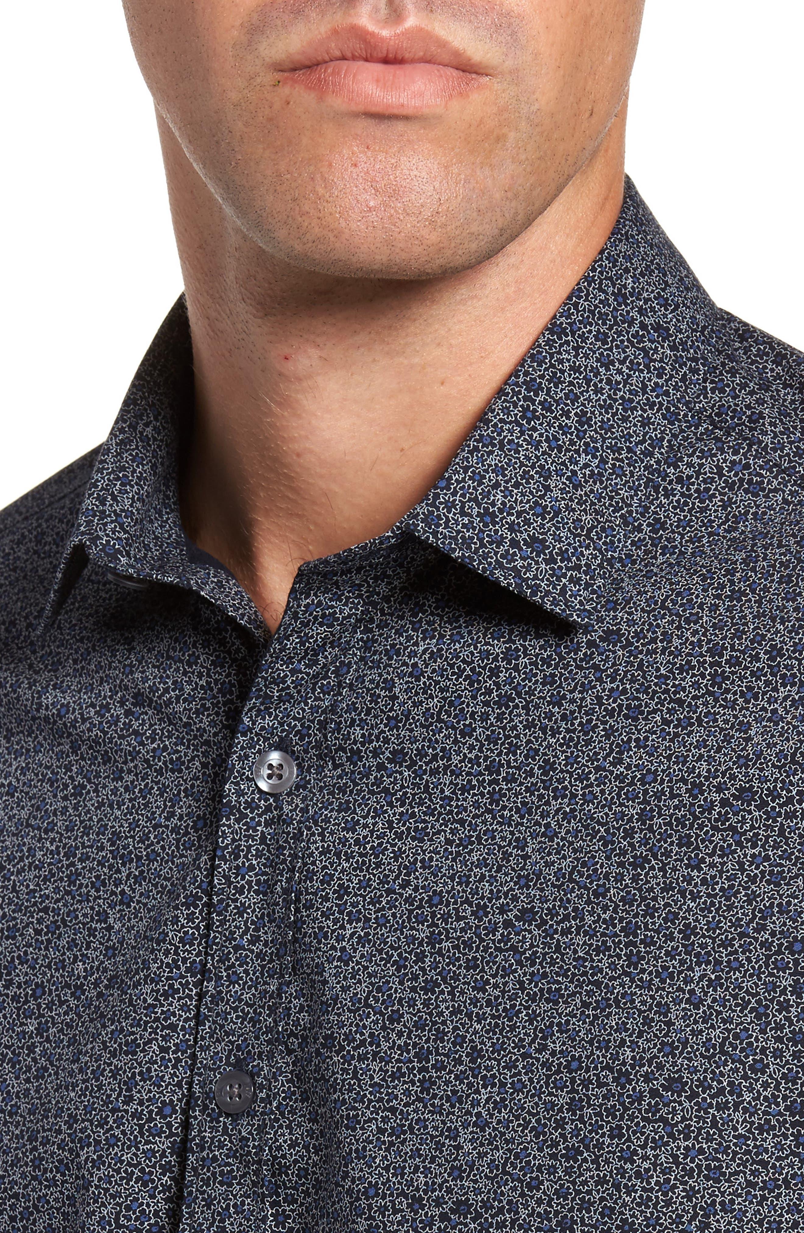 JEFF,                             Jackson Slim Fit Floral Print Sport Shirt,                             Alternate thumbnail 4, color,                             001