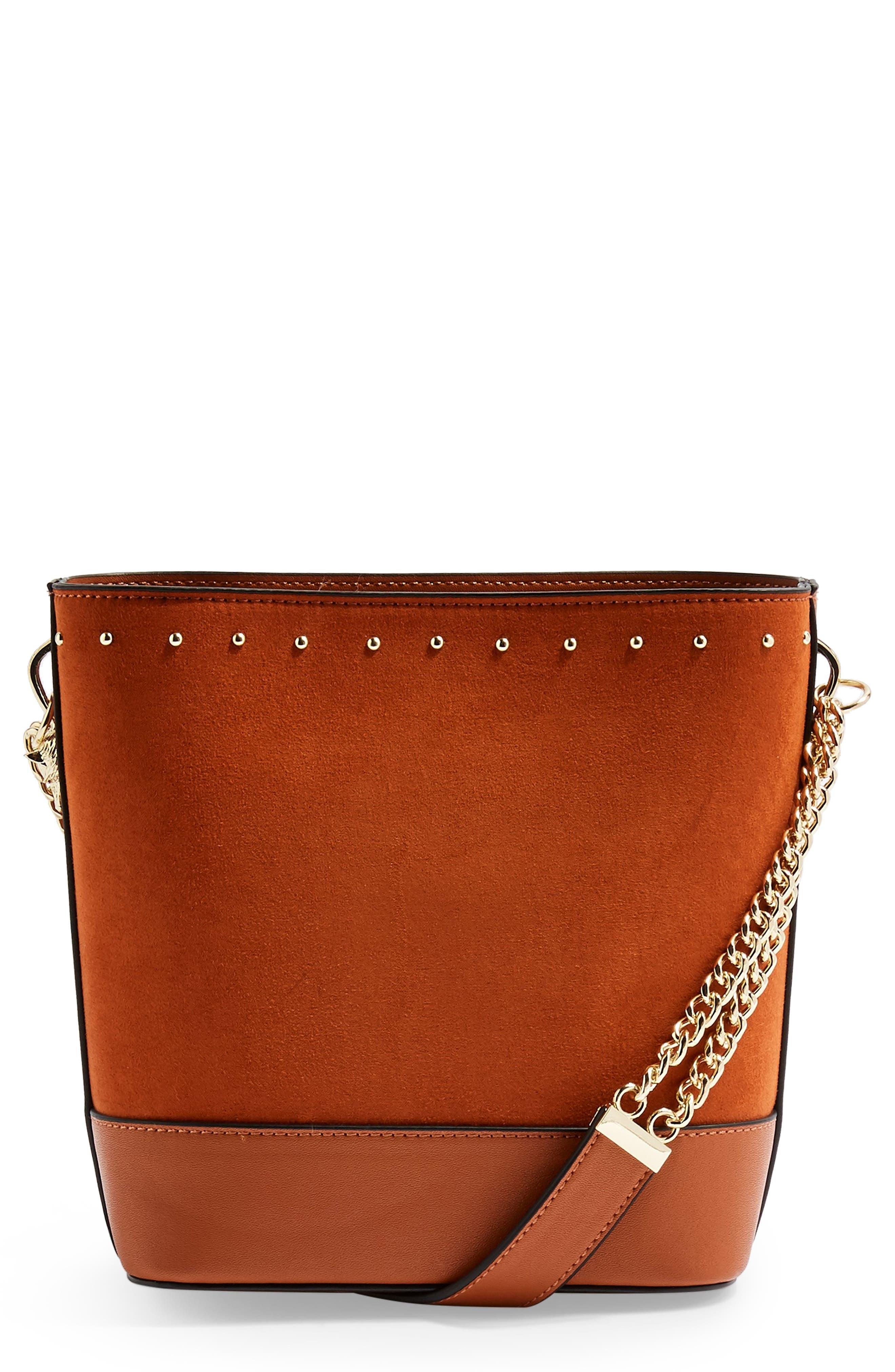 Foxy Bucket Bag, Main, color, BROWN