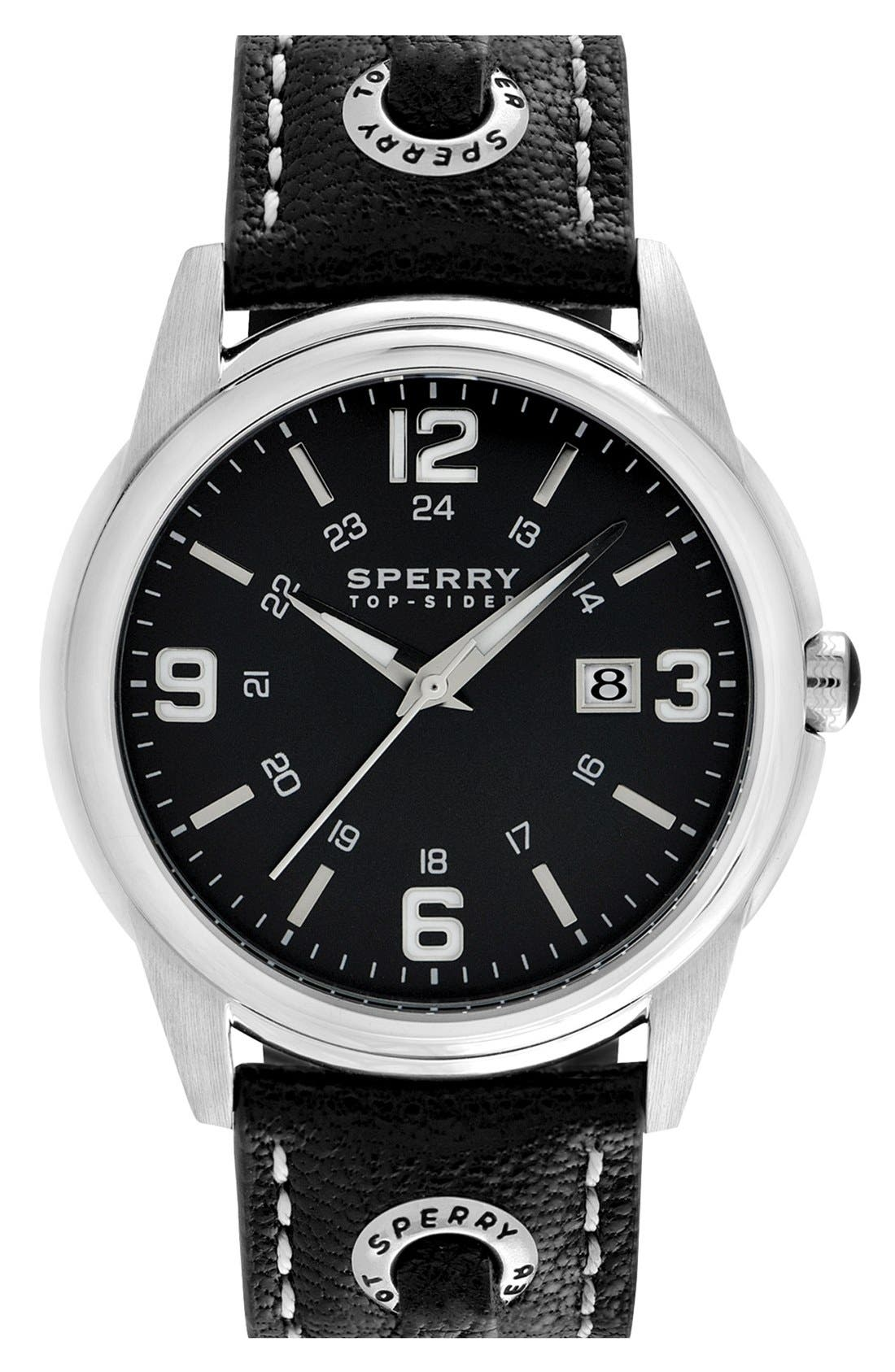 'Preston' Round Leather Strap Watch, 42mm,                             Main thumbnail 1, color,                             001