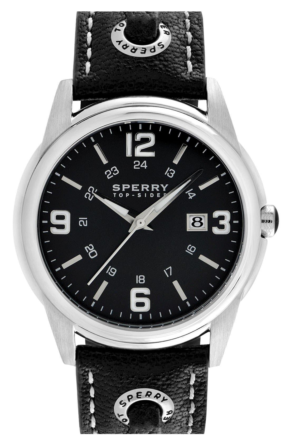'Preston' Round Leather Strap Watch, 42mm,                         Main,                         color, 001