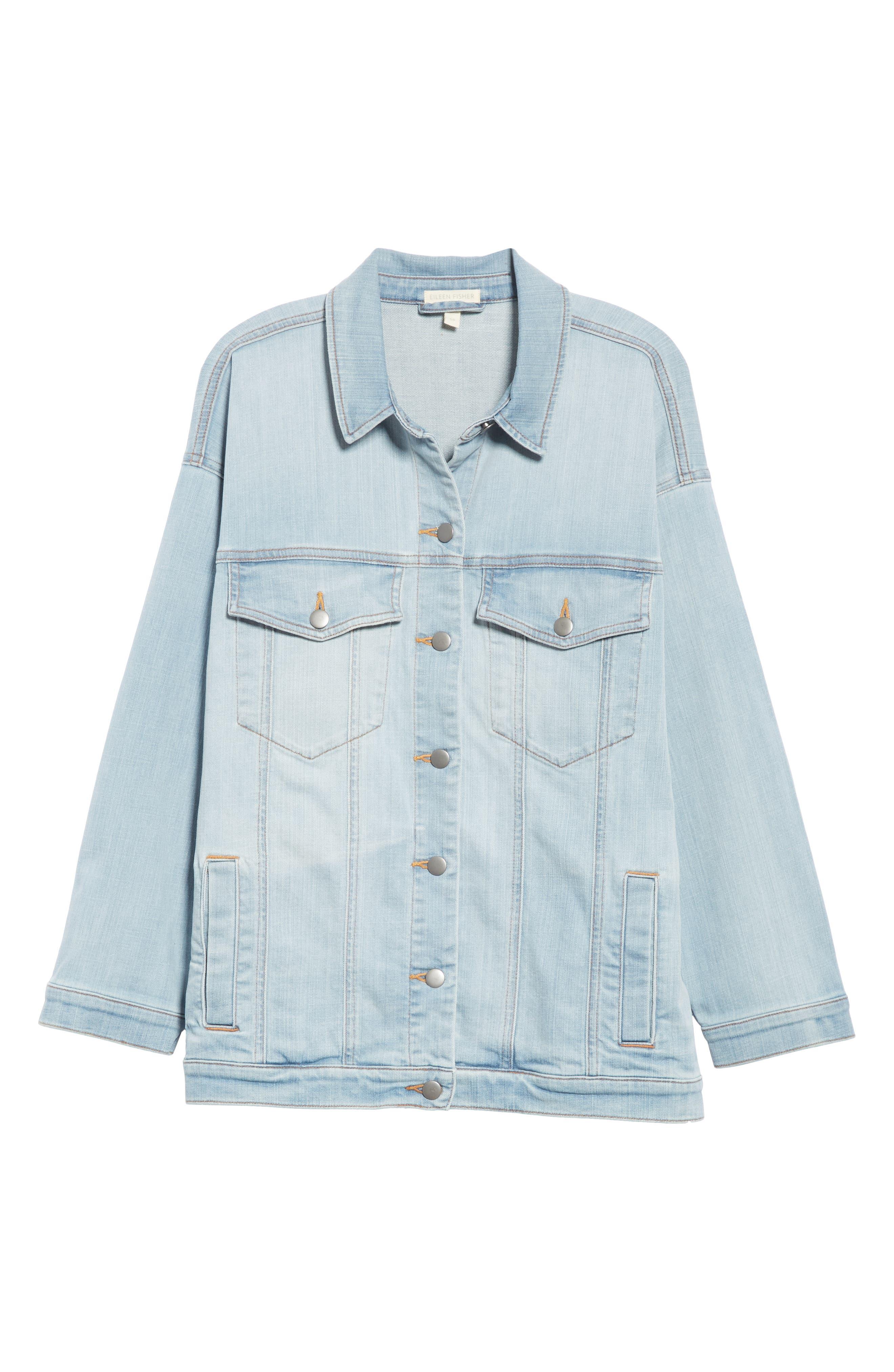 Oversize Stretch Organic Cotton Denim Jacket,                             Alternate thumbnail 6, color,                             ICE BLUE
