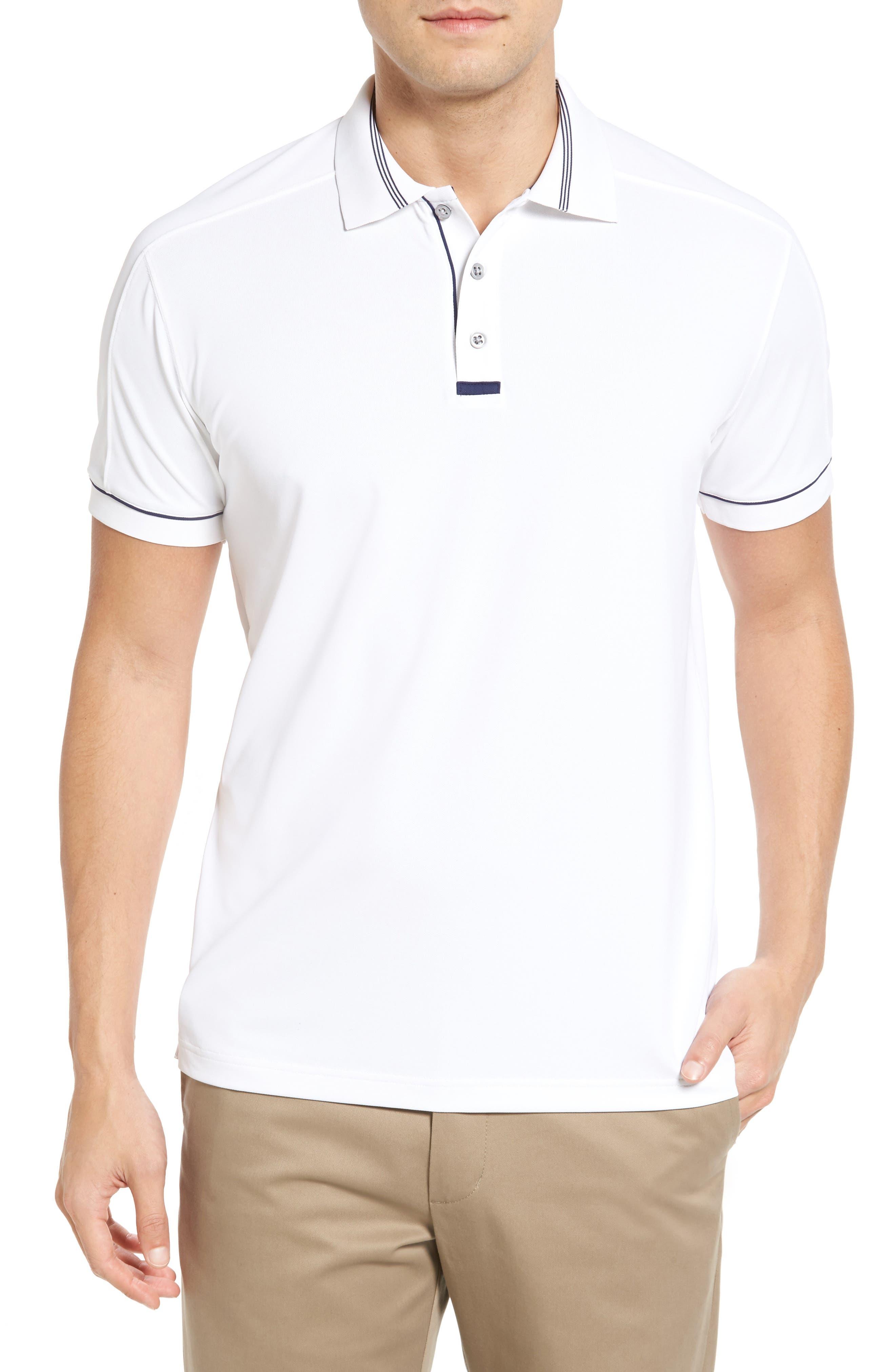 BOBBY JONES Tech Pique Golf Polo in White
