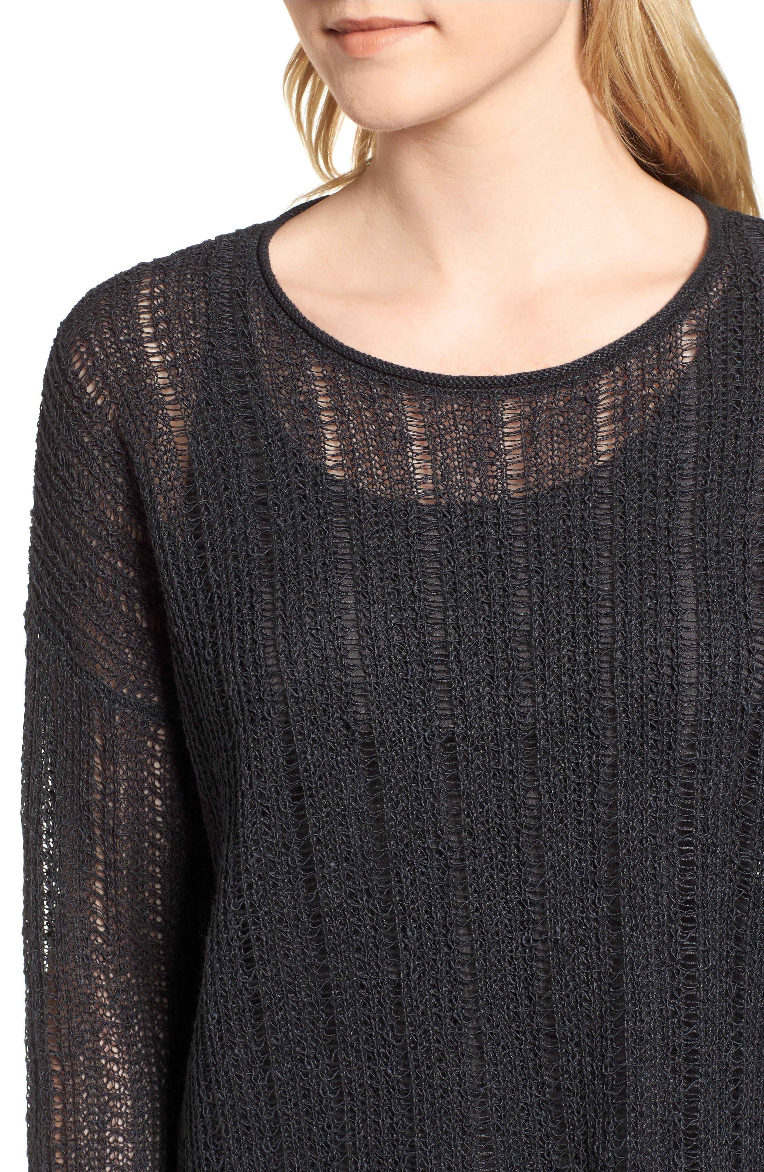 Open Knit Organic Linen Blend Sweater,                             Alternate thumbnail 4, color,                             025