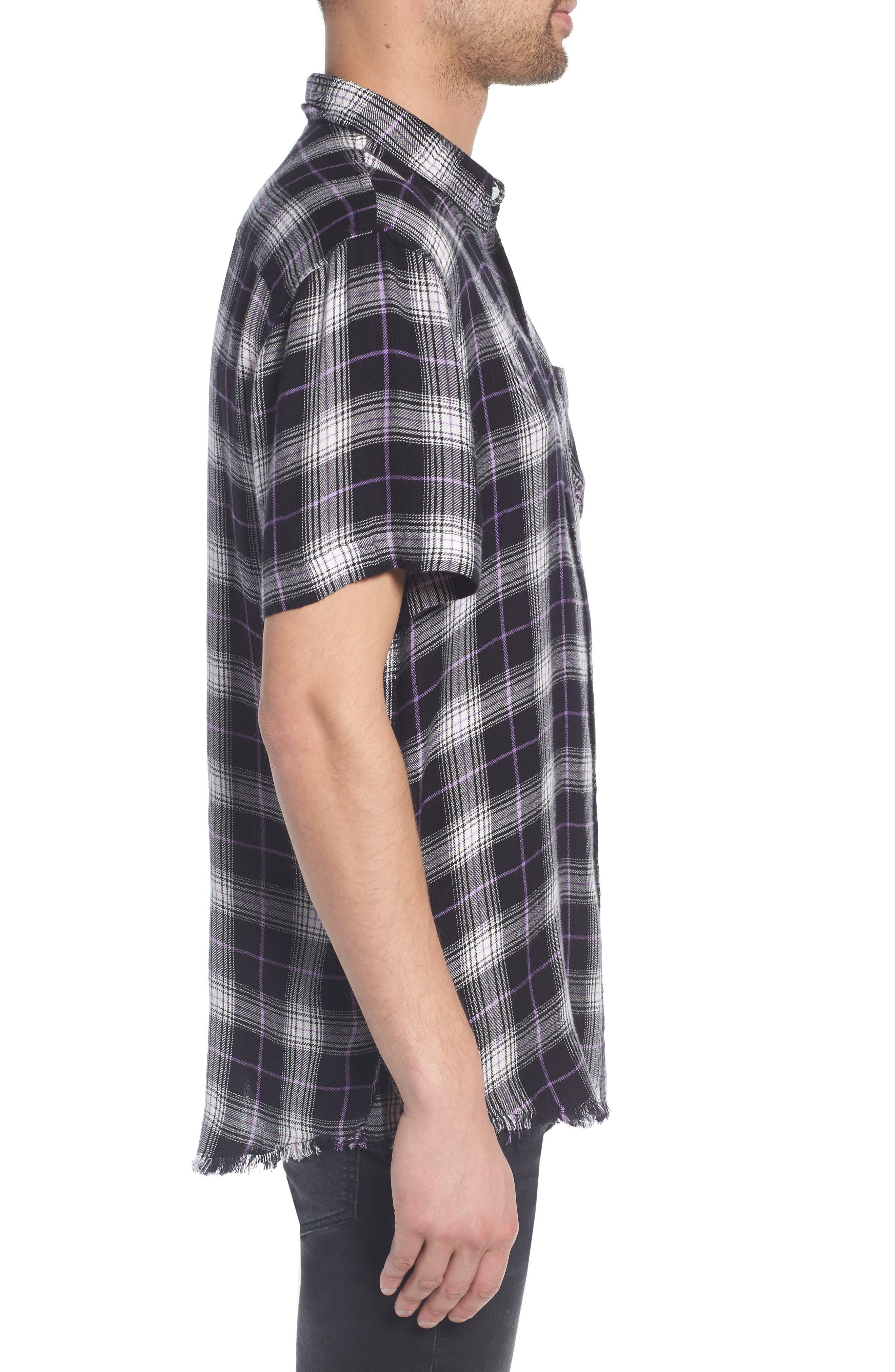 Drapey Plaid Short Sleeve Shirt,                             Alternate thumbnail 3, color,                             BLACK ROCK CODY PLAID