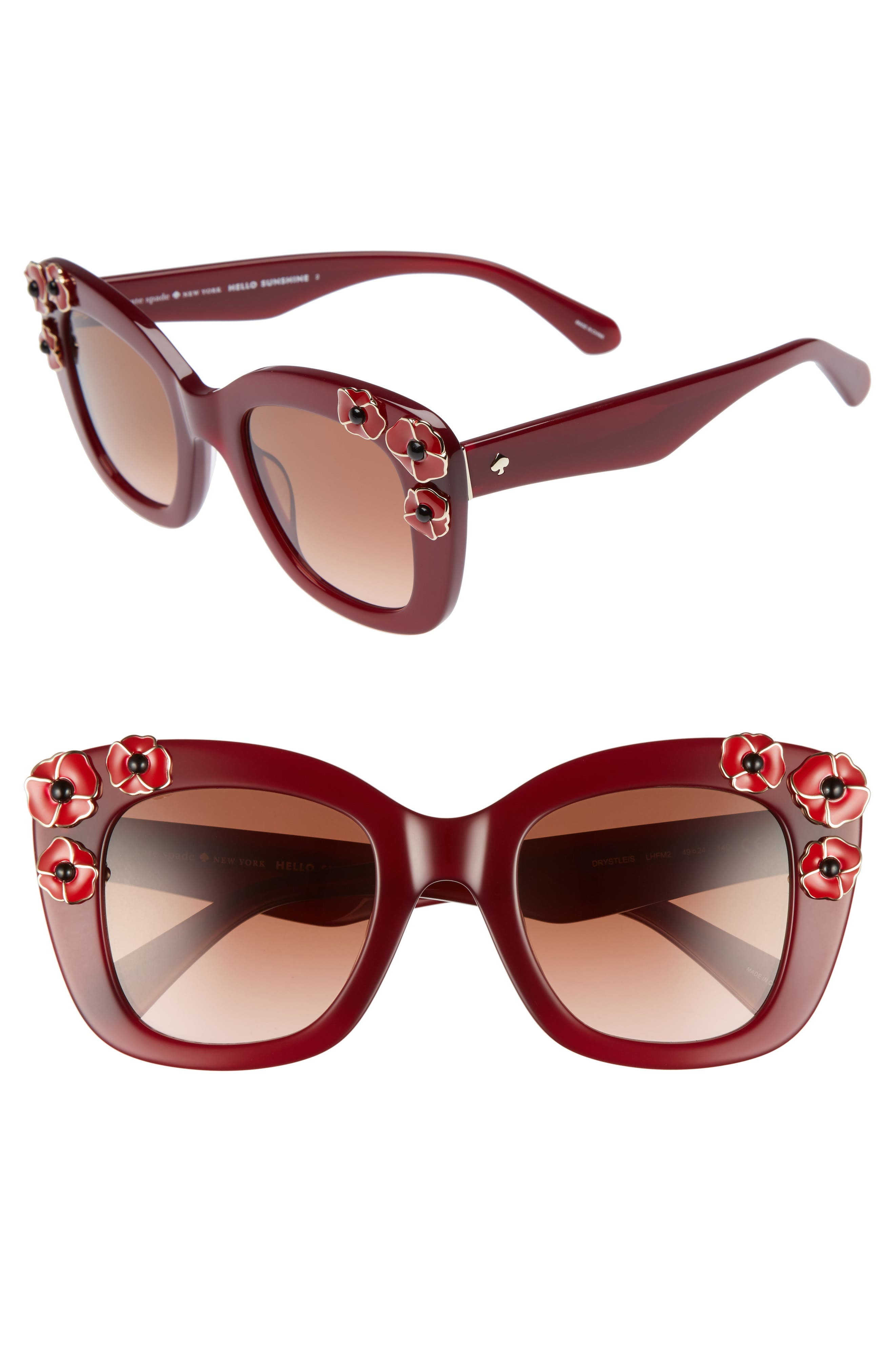kate spade drystle 49mm floral embellished square sunglasses,                             Main thumbnail 2, color,