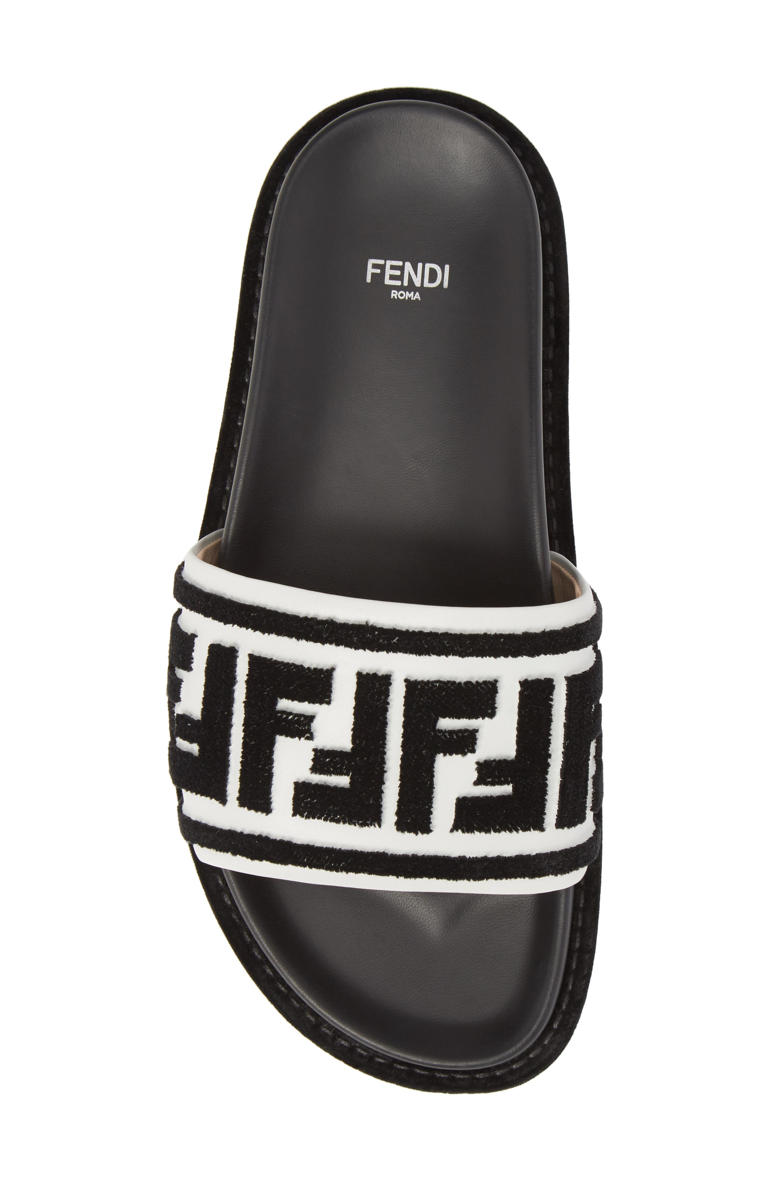 Fun Fendi Logo Slide Sandal,                             Alternate thumbnail 5, color,                             BLACK/ WHITE