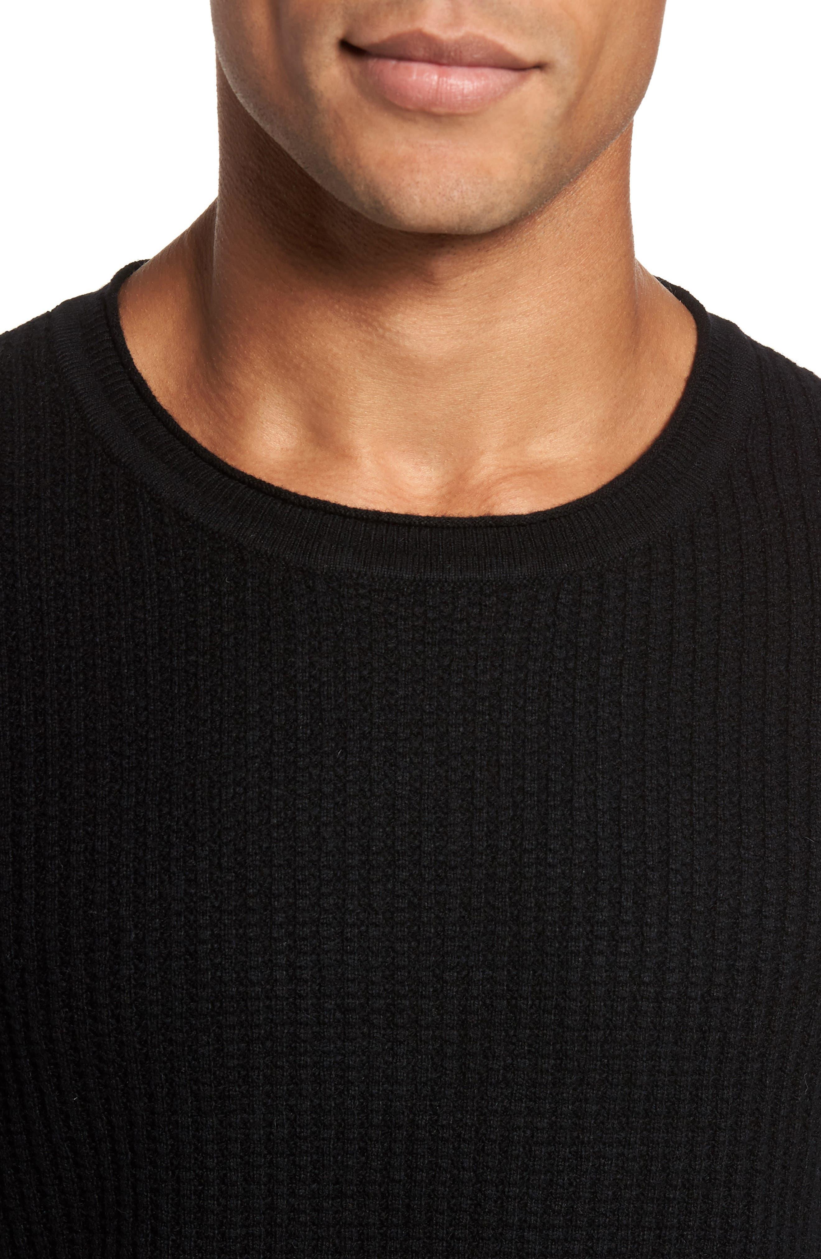 Deklyn Slim Fit Merino & Cashmere Sweatshirt,                             Alternate thumbnail 4, color,                             001