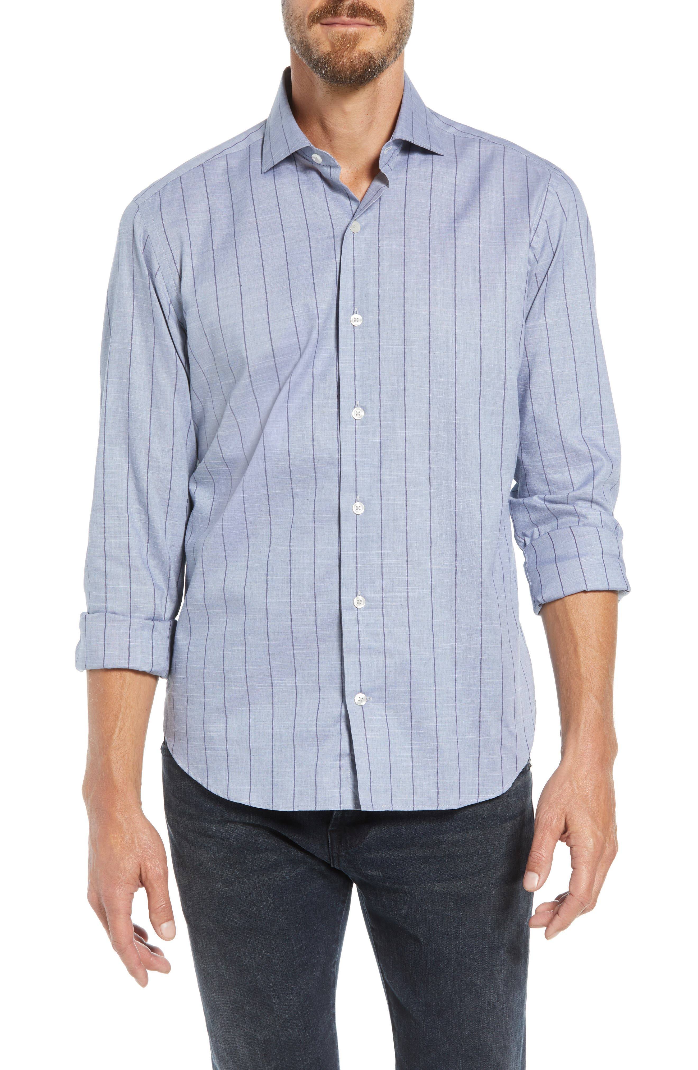 Tailored Fit Stripe Sport Shirt,                         Main,                         color, 400