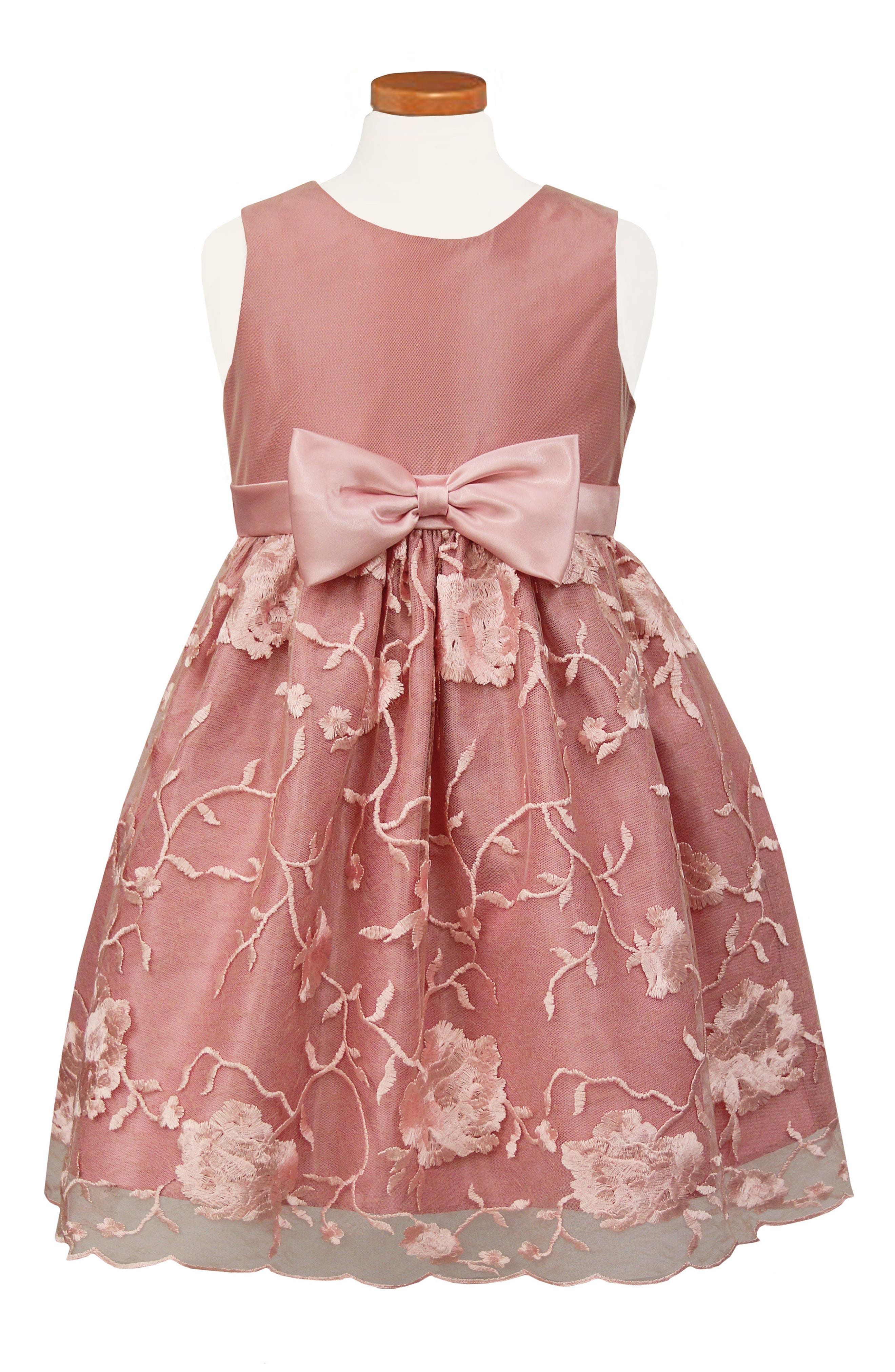 Embroidered Fit & Flare Dress,                         Main,                         color, ROSE