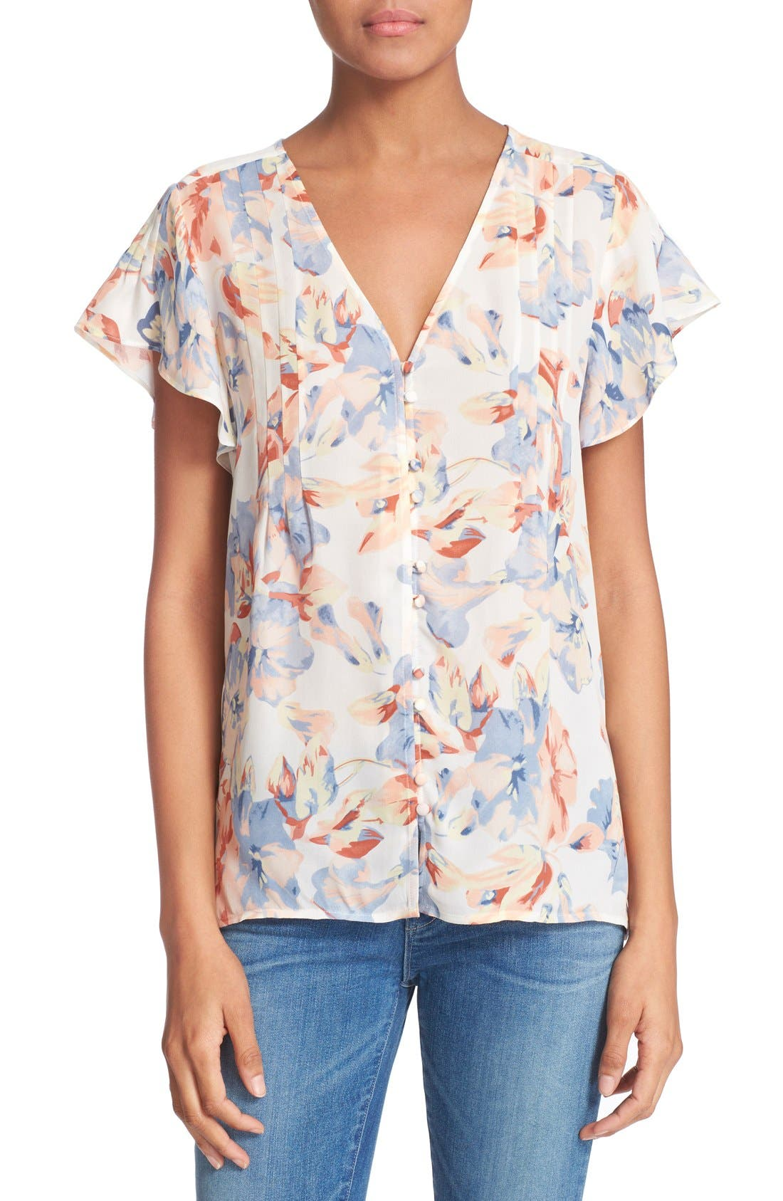 JOIE 'Annite' Floral Print Silk Top, Main, color, 901