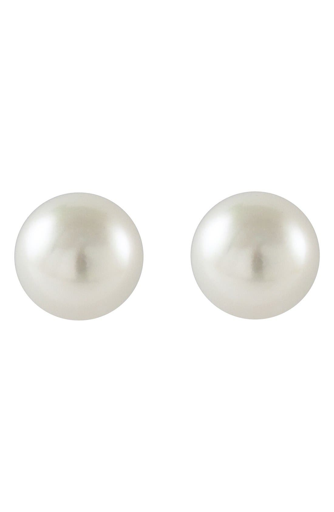 'Luna' 8mm Pearl Stud Earrings,                             Alternate thumbnail 2, color,                             SILVER